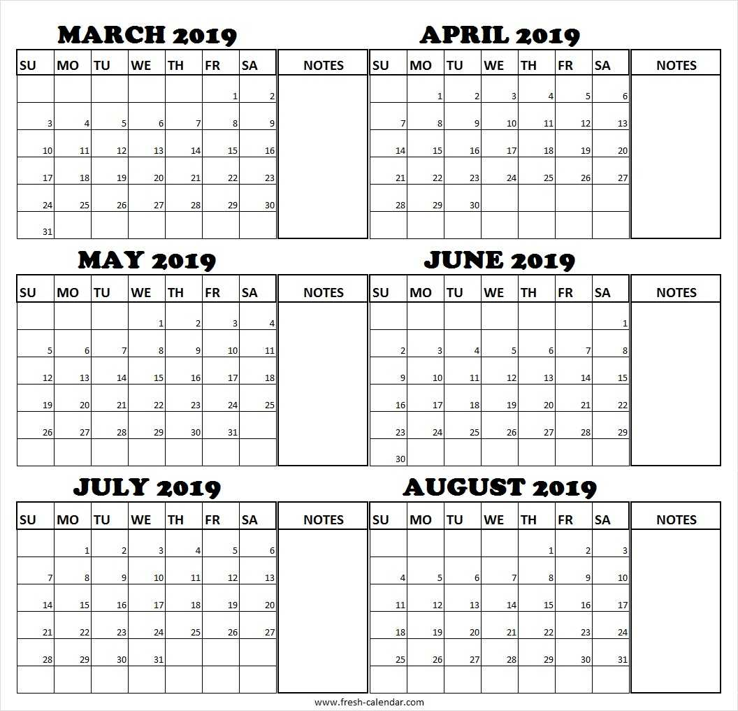 March April May June July August 2019 Calendar | Fresh