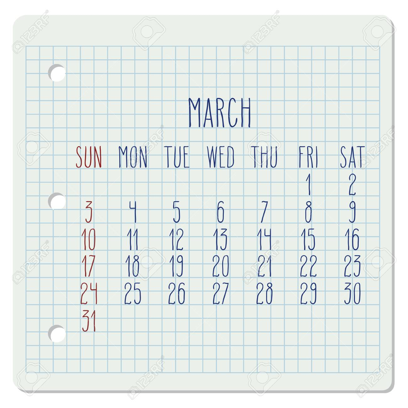 March Year 2019 Vector Monthly Calendar On A Chequered Notebook..
