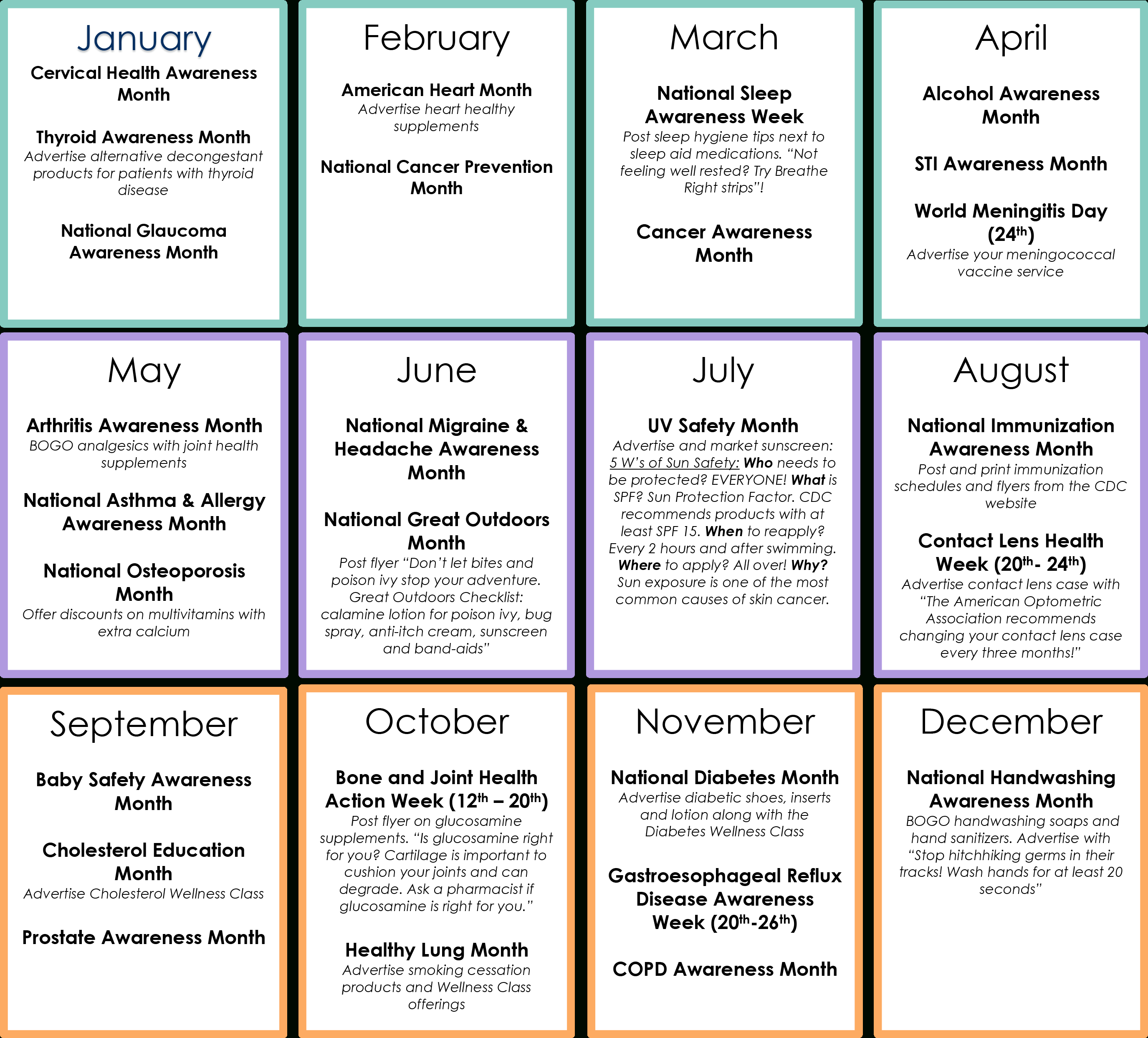 Market Your Front End With A Health Awareness Calendar