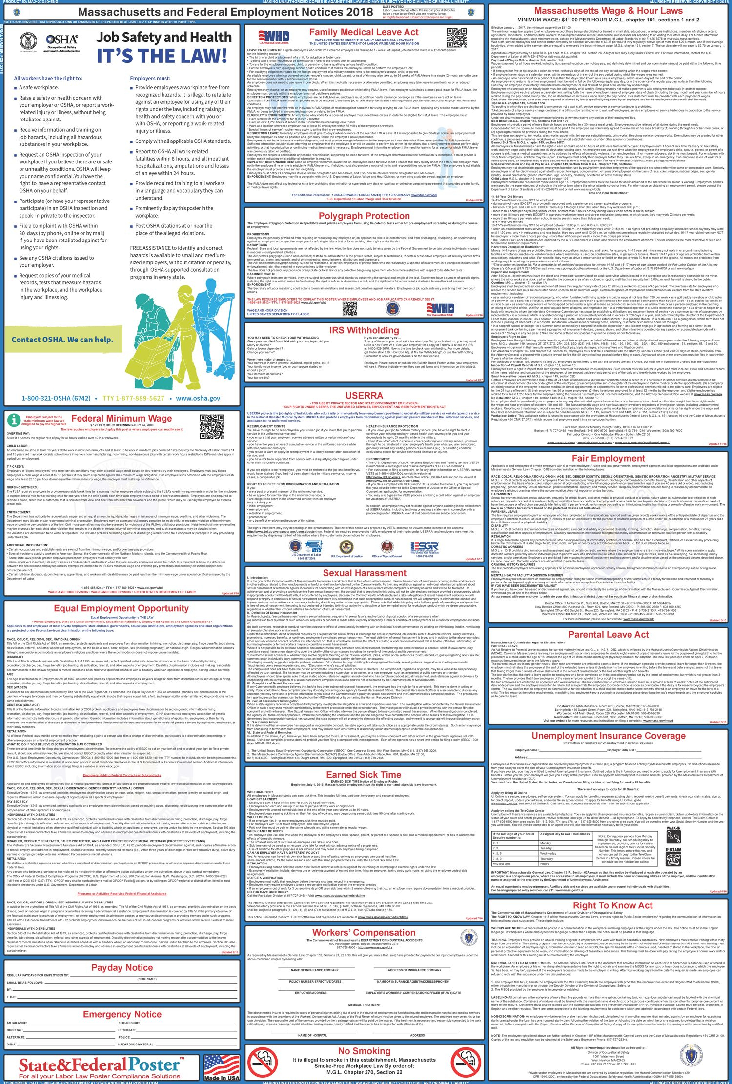 Massachusetts State And Federal Labor Law Poster 2019