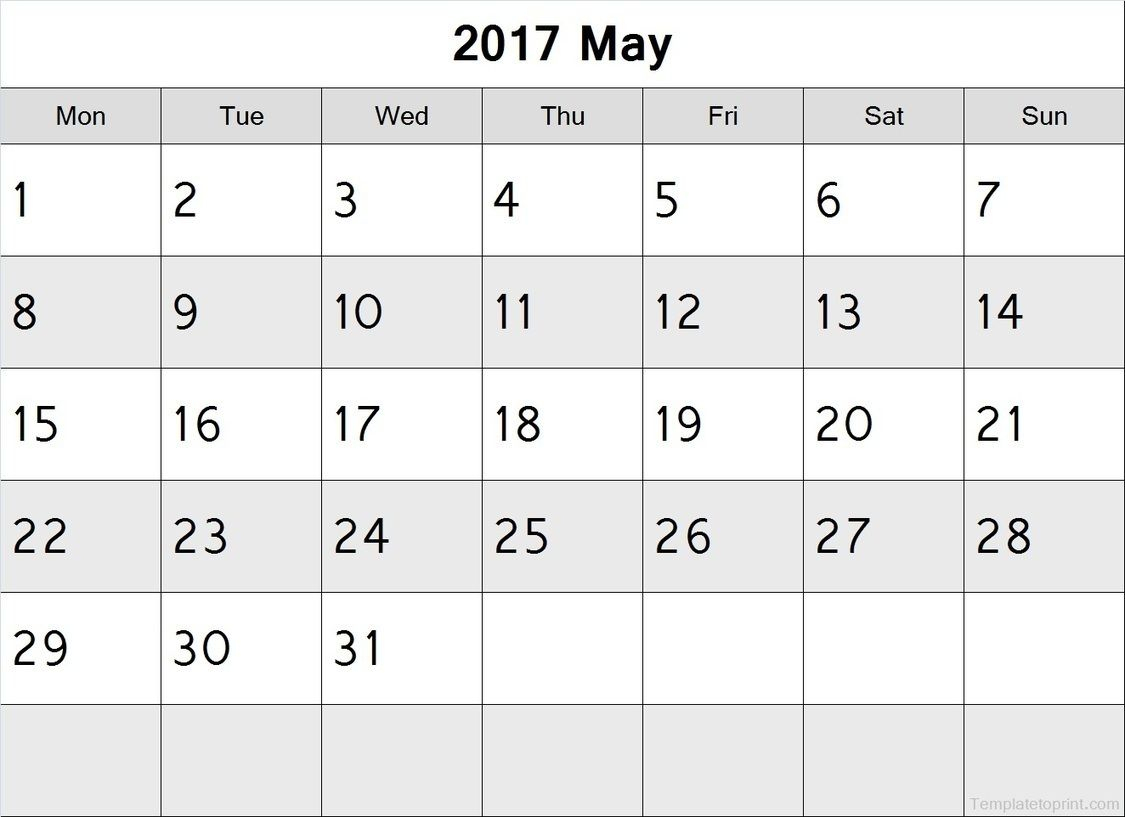 May 2017 Calendar Monday Start Pdf File | 2017 Calendar