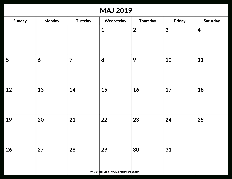 May 2019 Calendar - My Calendar Land