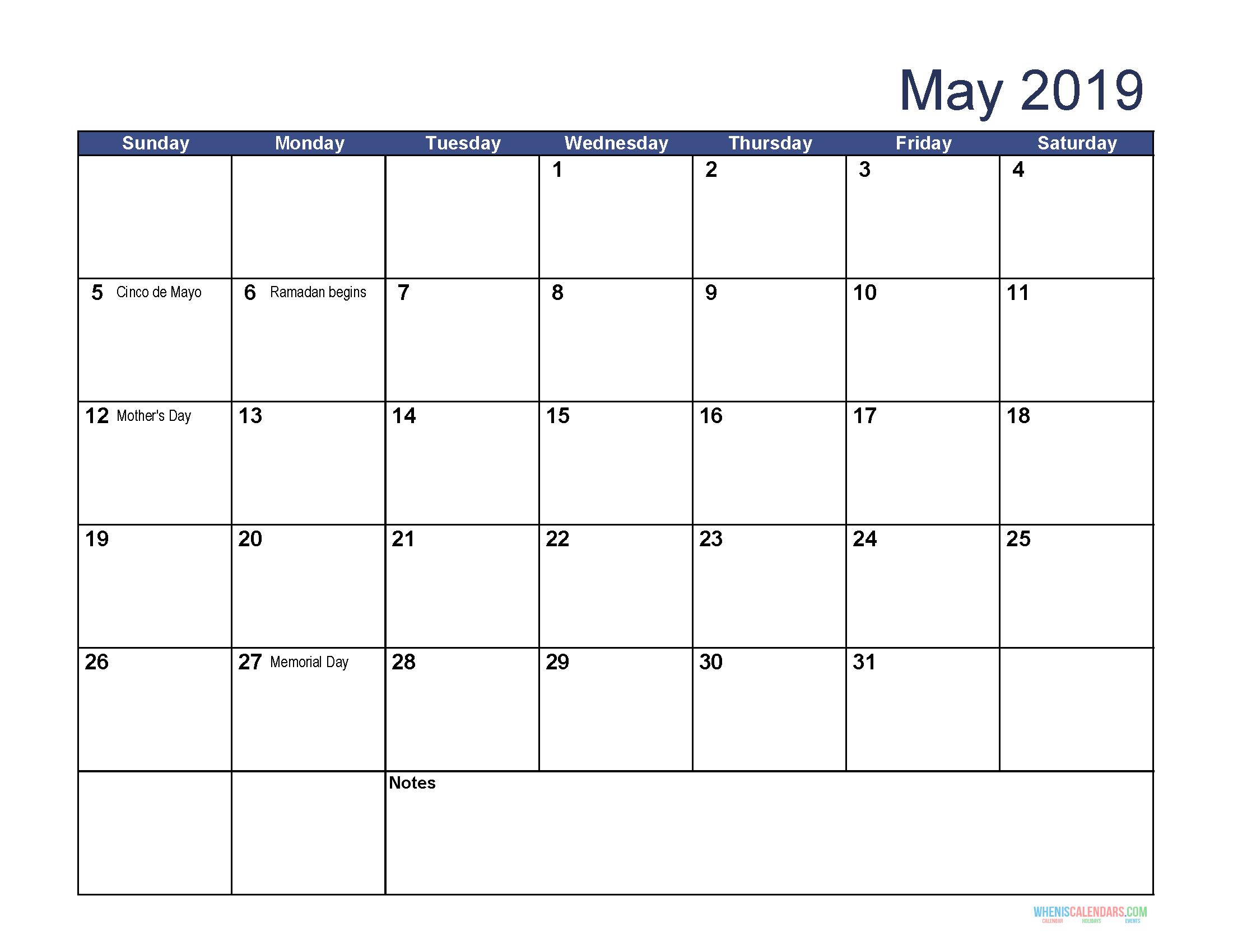 May 2019 Calendar With Holidays Usa, Uk, Canada, India