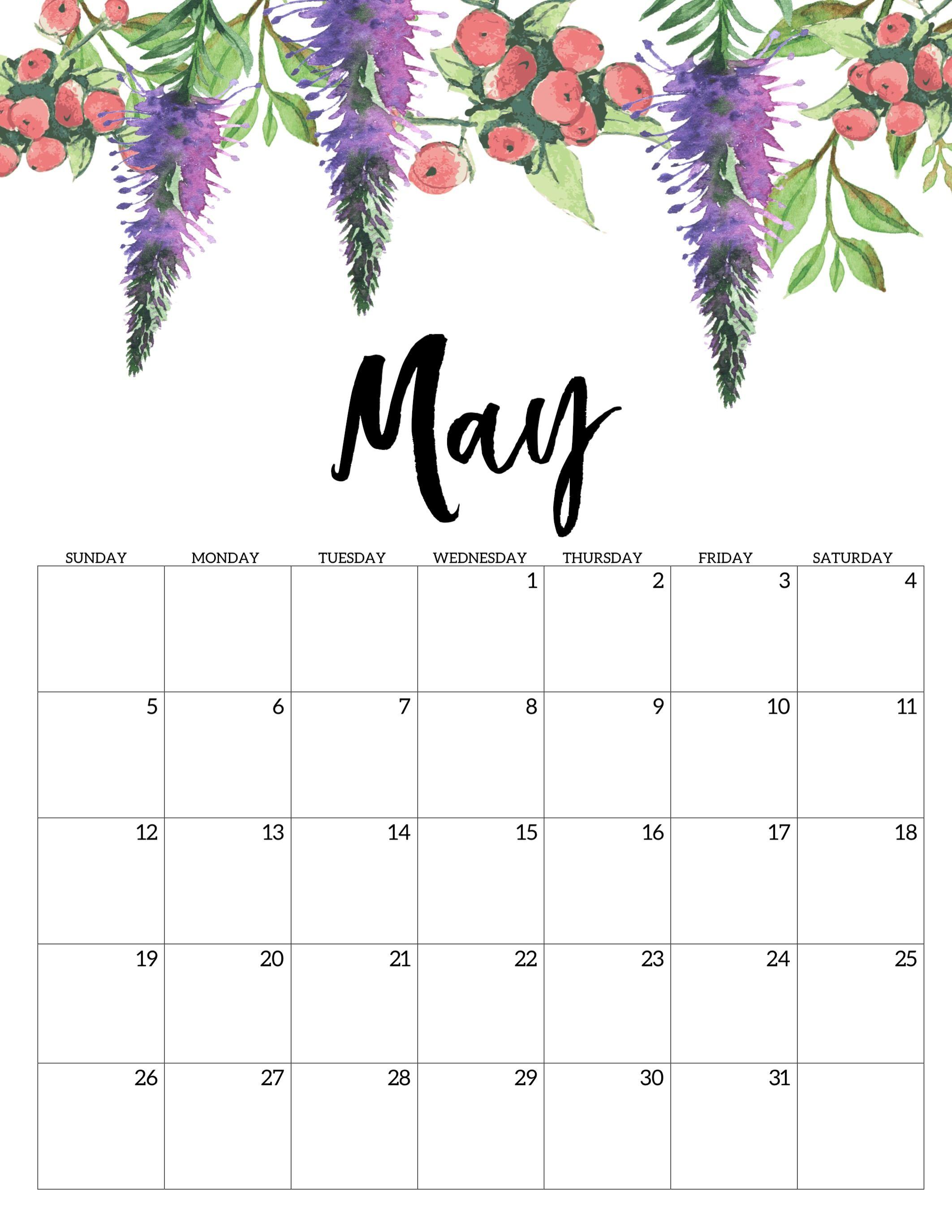May 2019 Floral Wall Calendar   200+ May 2019 Calendar