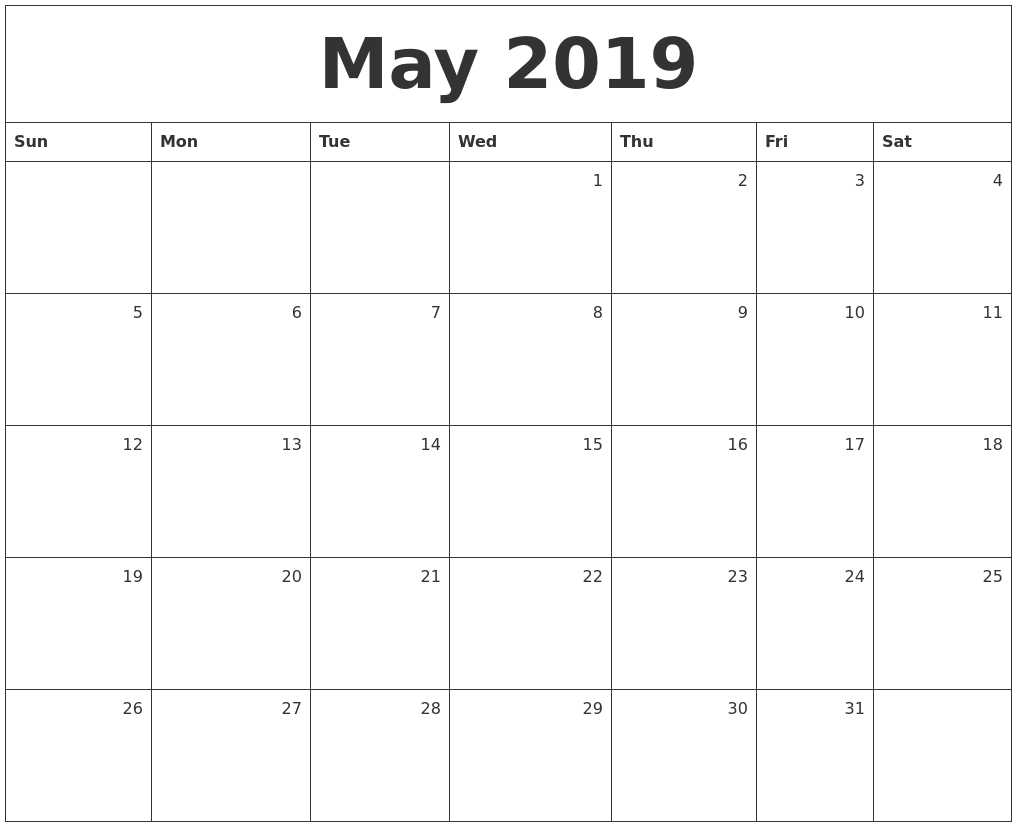 May 2019 Monthly Calendar
