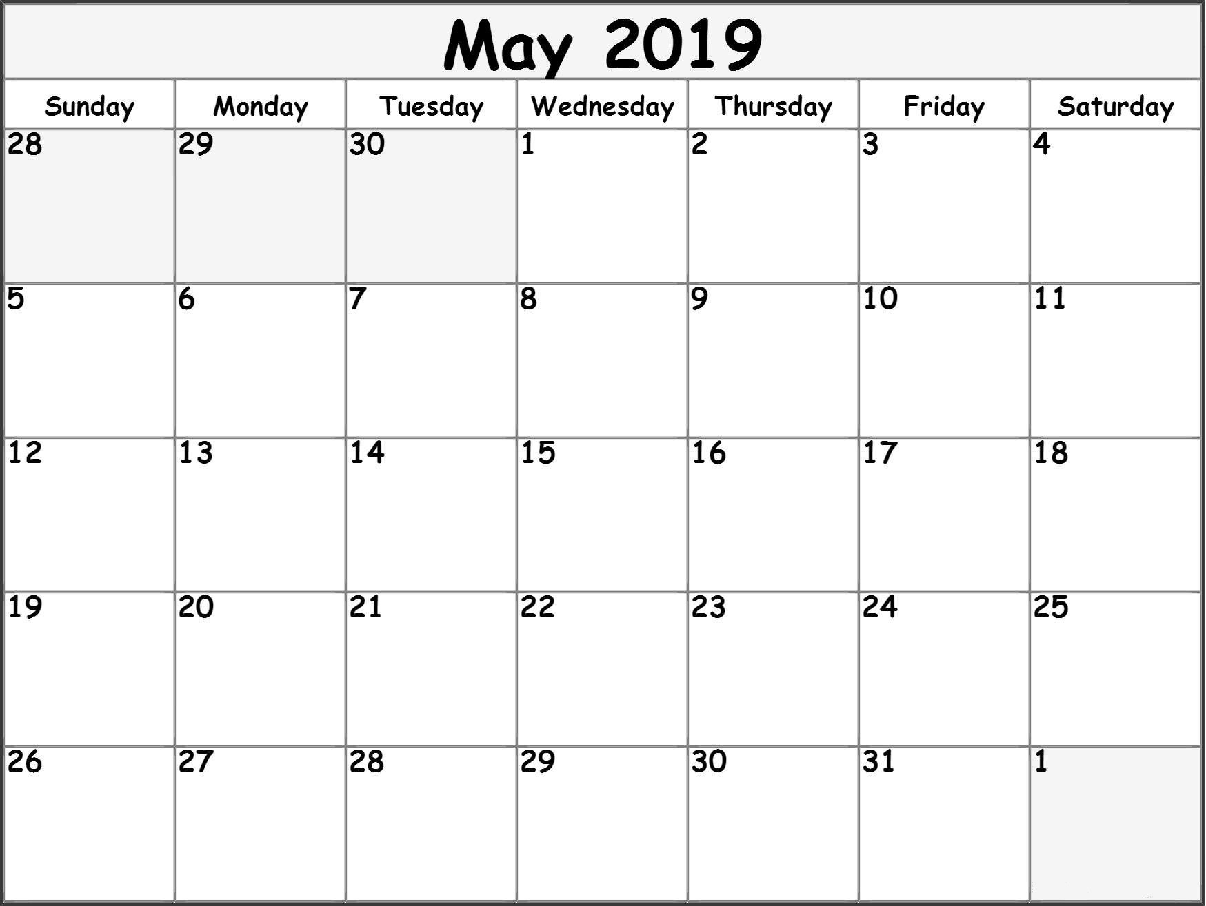 May 2019 Printable Calendar Templates - Free Blank, Pdf