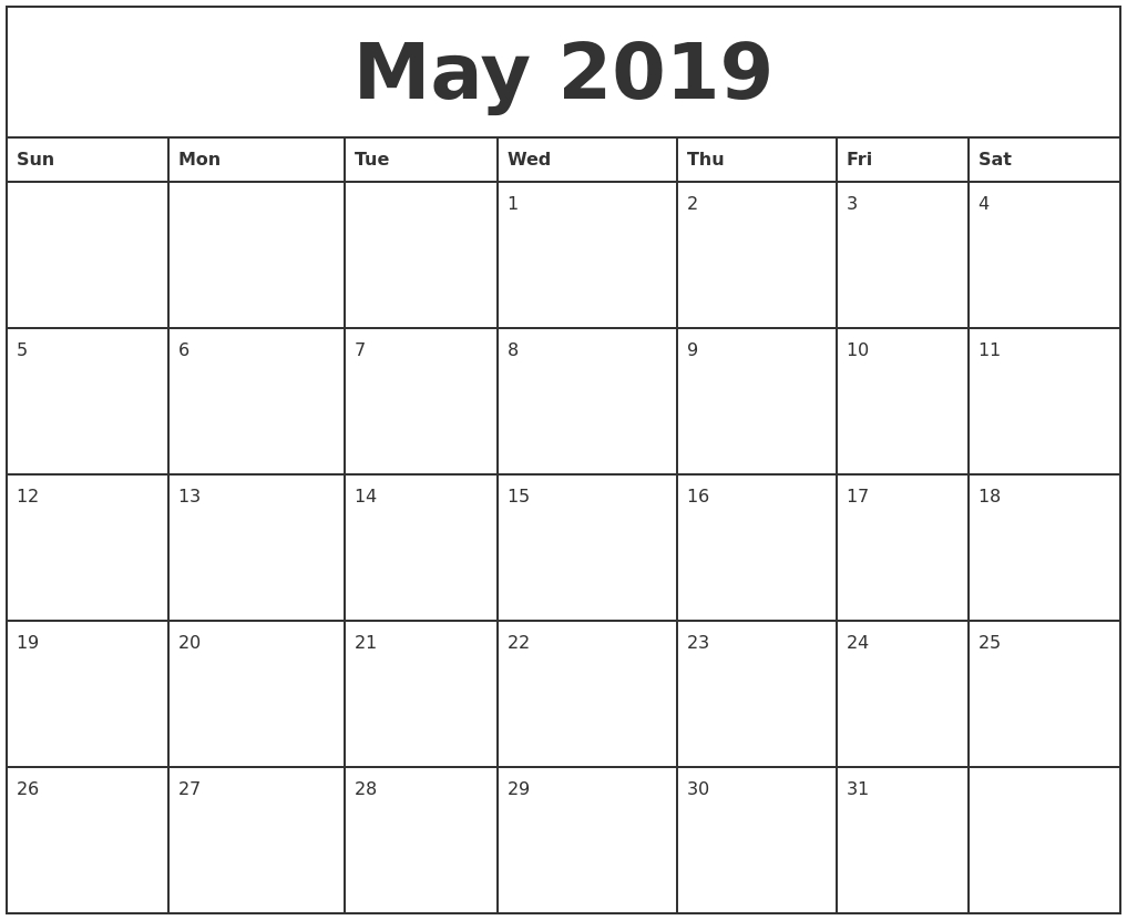 May 2019 Printable Monthly Calendar