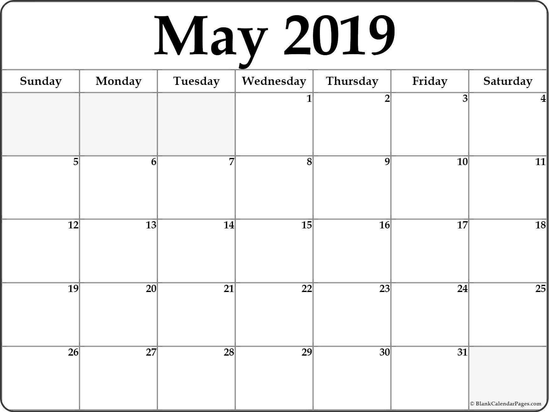 May 2019 Weekly Calendar Printable - Make A Week Wise