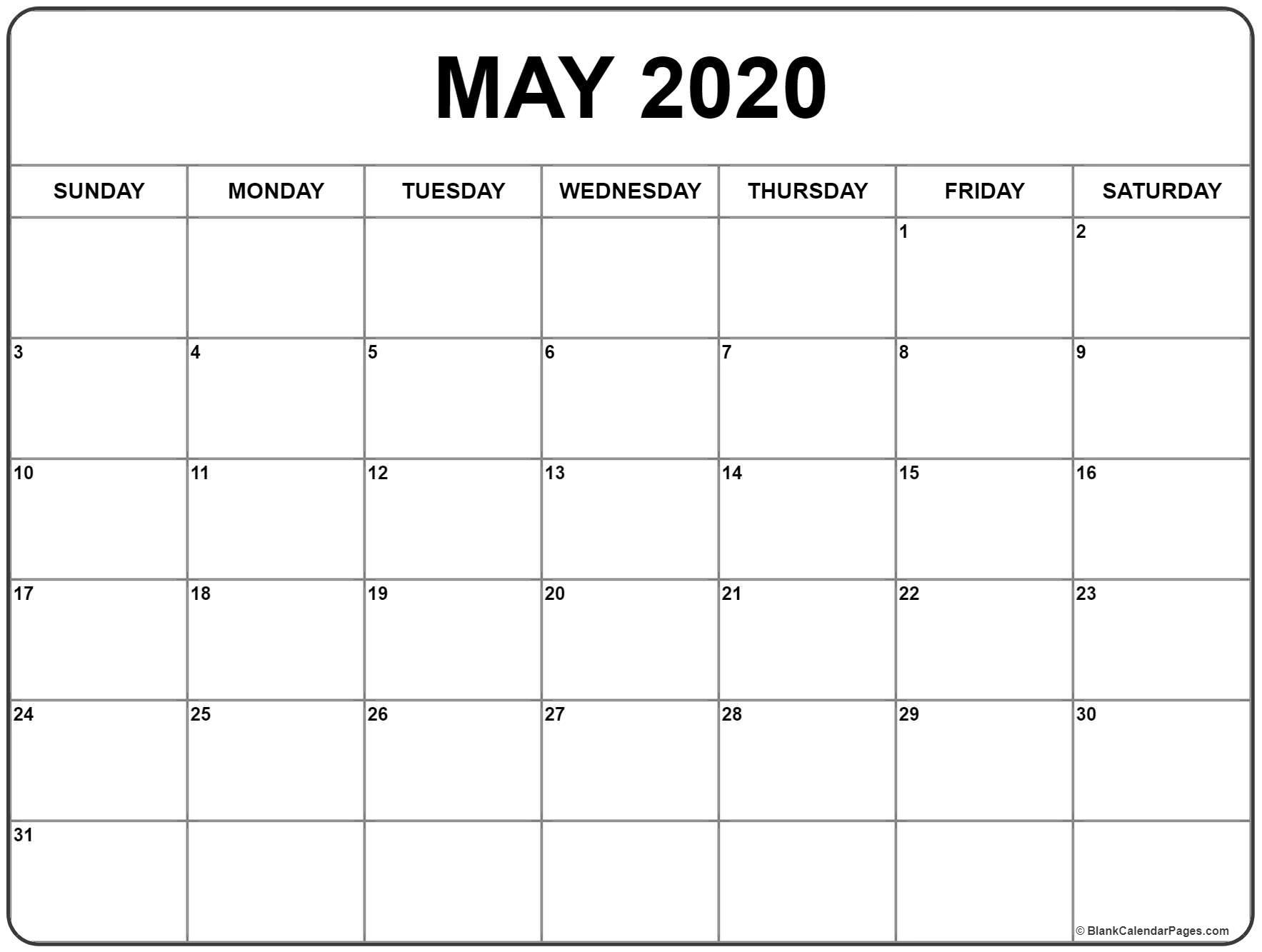 May 2020 Calendar | Free Printable Monthly Calendars