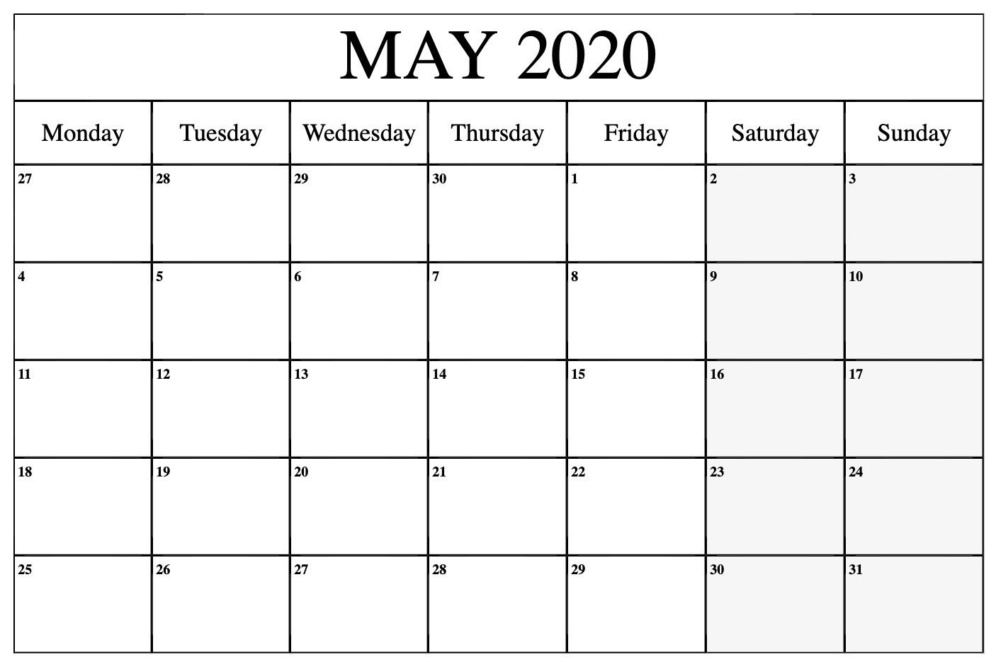 May 2020 Calendar Printable Template With Holidays