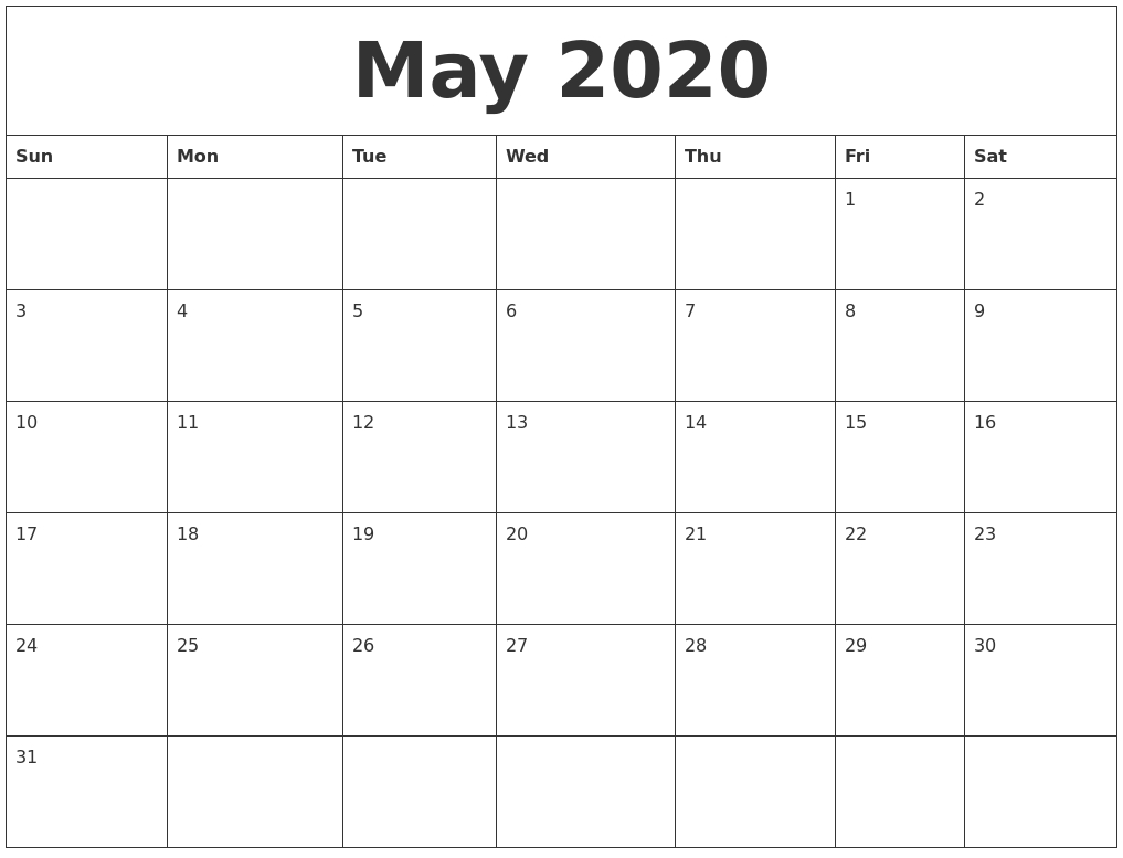 May 2020 Free Monthly Calendar Template