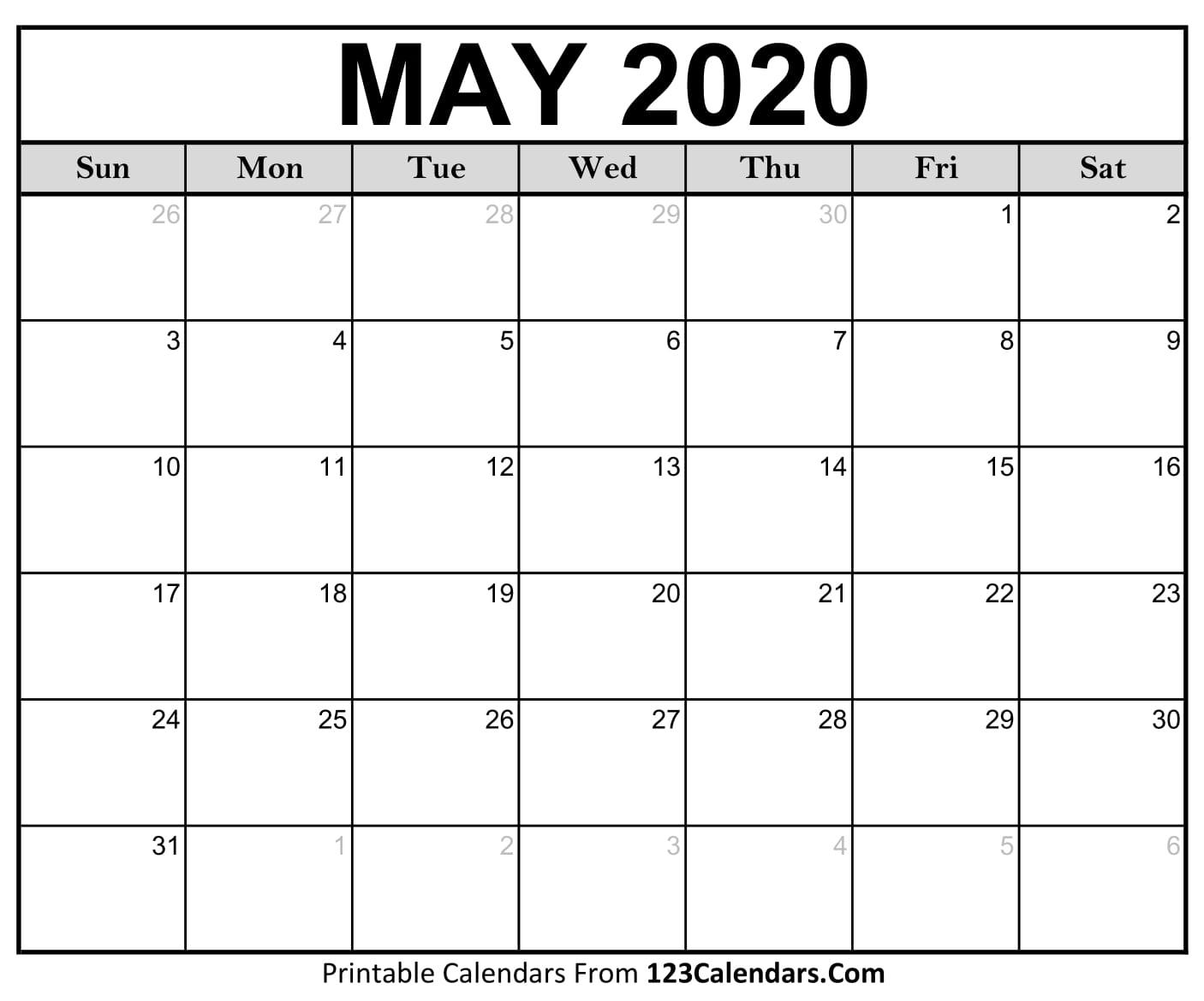 May 2020 Printable Calendar | 123Calendars