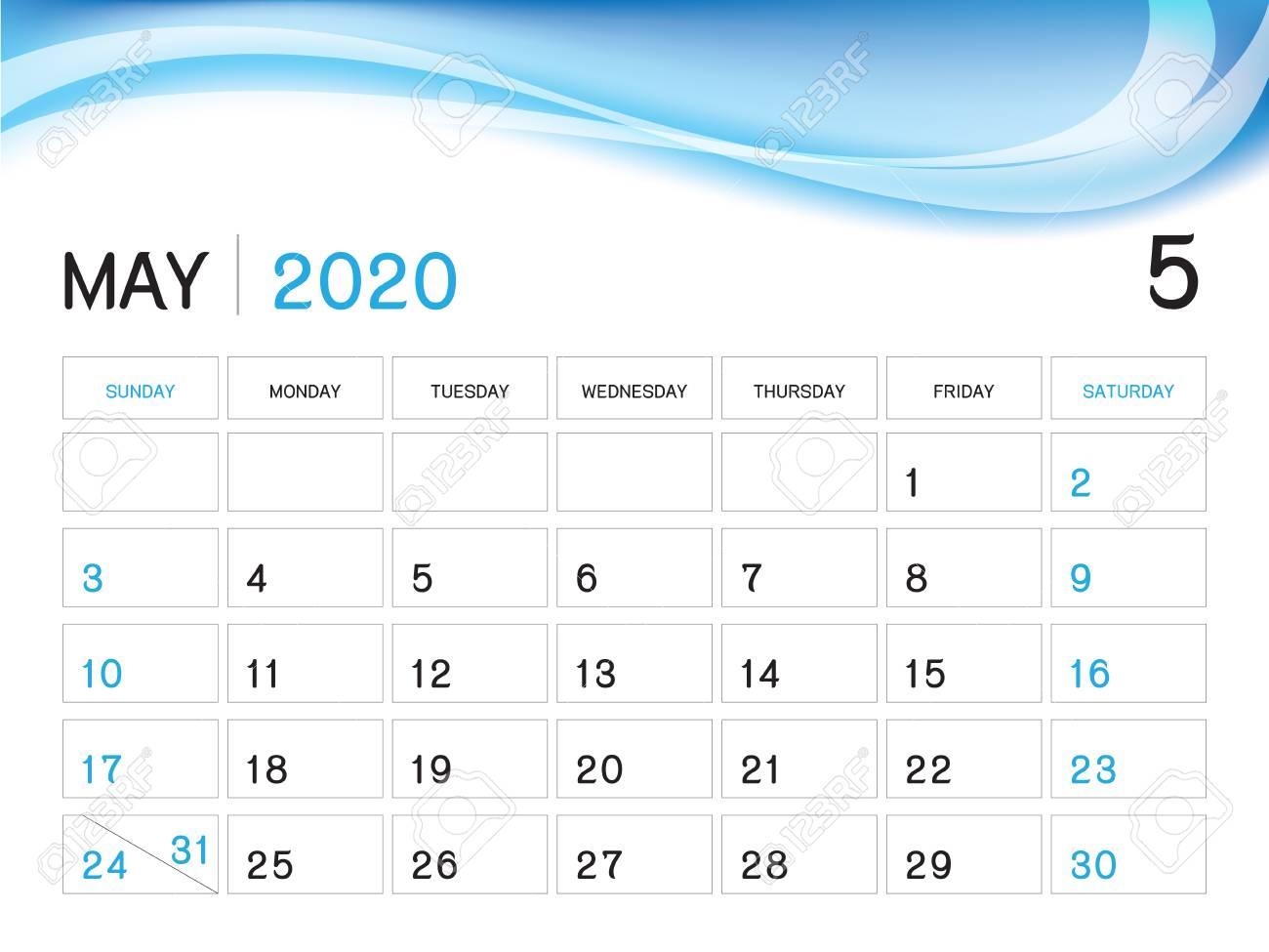 May 2020 Year Template, Calendar 2020 Vector, Desk Calendar Design,..
