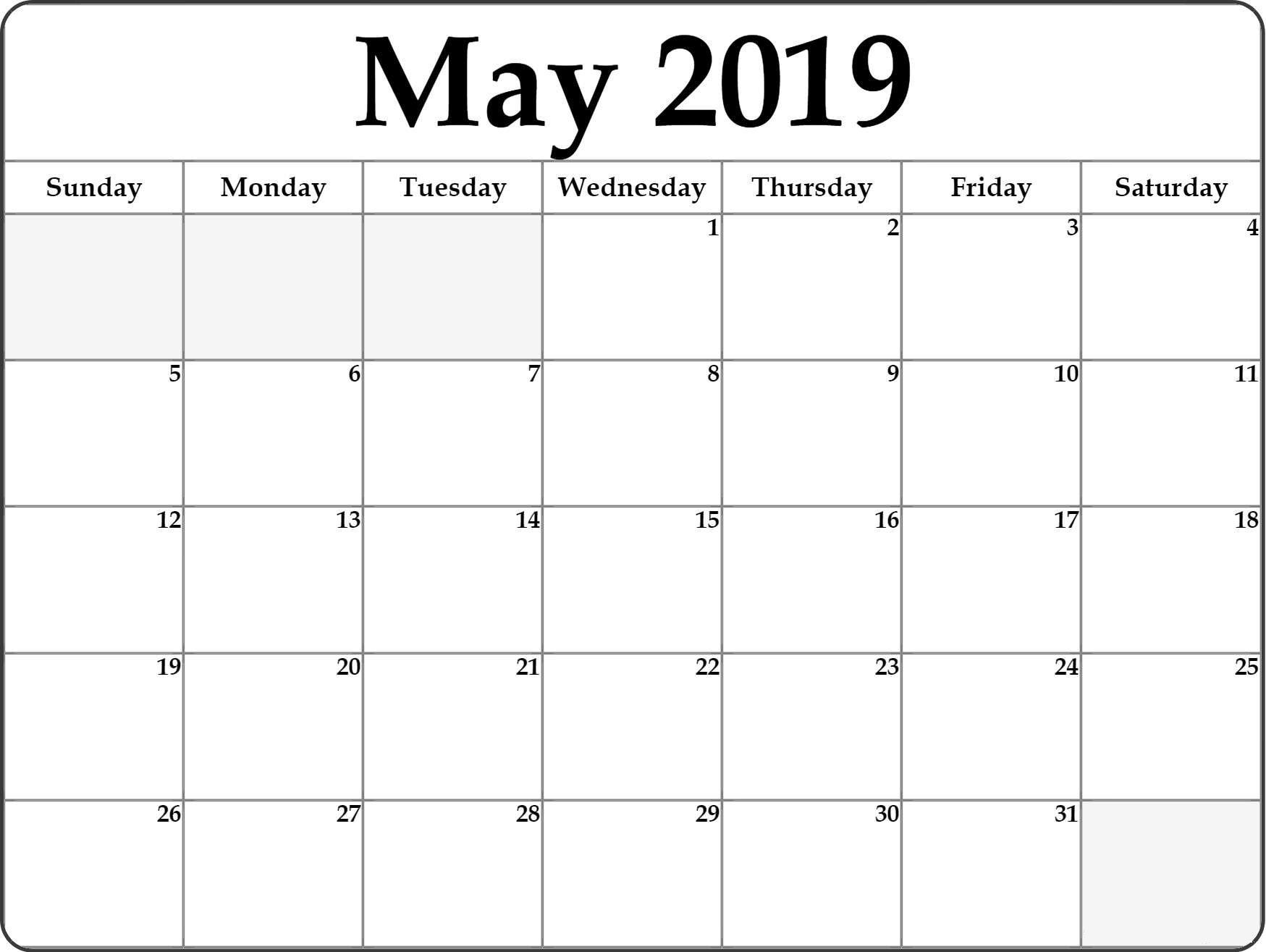 May Calendar 2019 Editable | May 2019 Blank Calendar Pdf Win