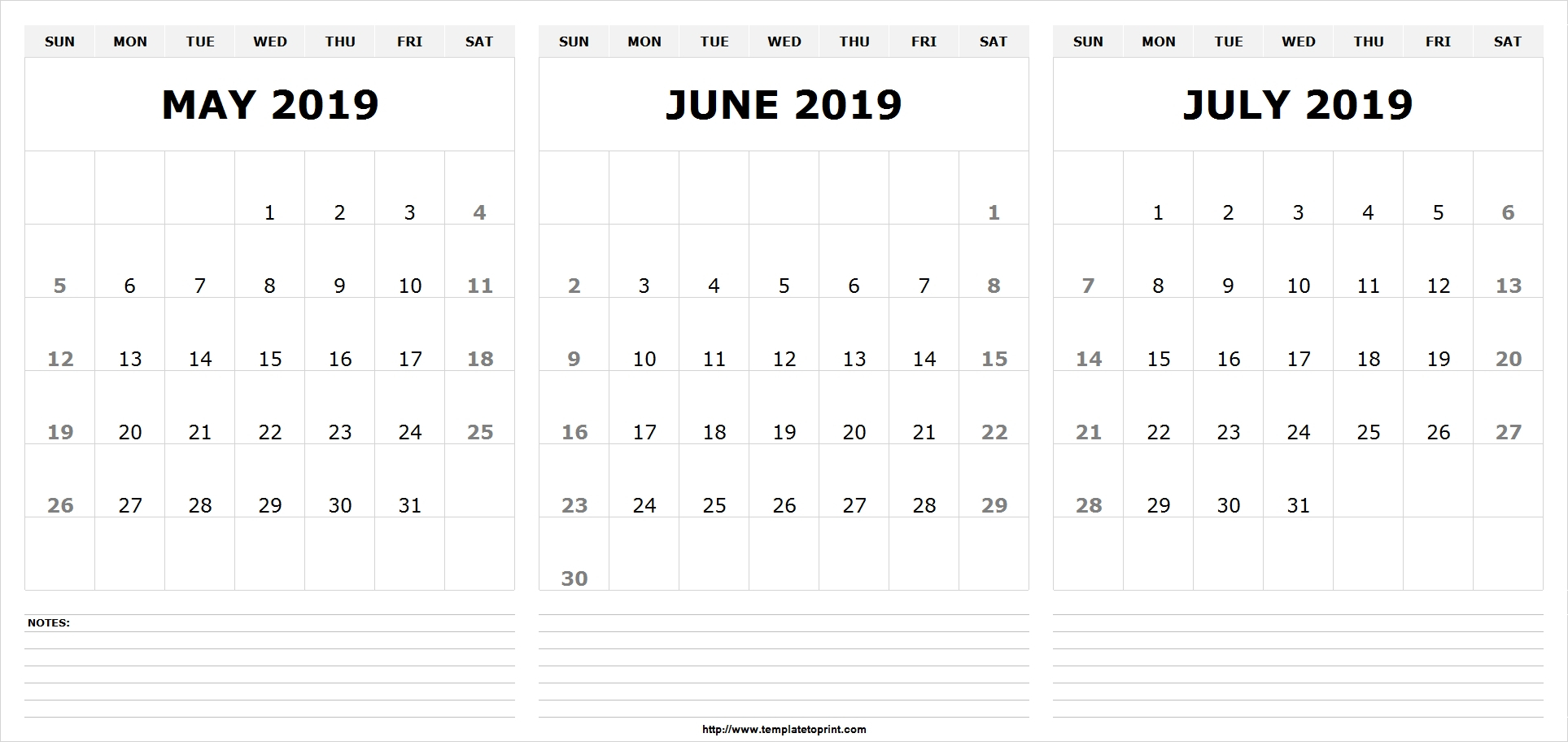 May June July 2019 Calendar (3 Months) Templates Printable