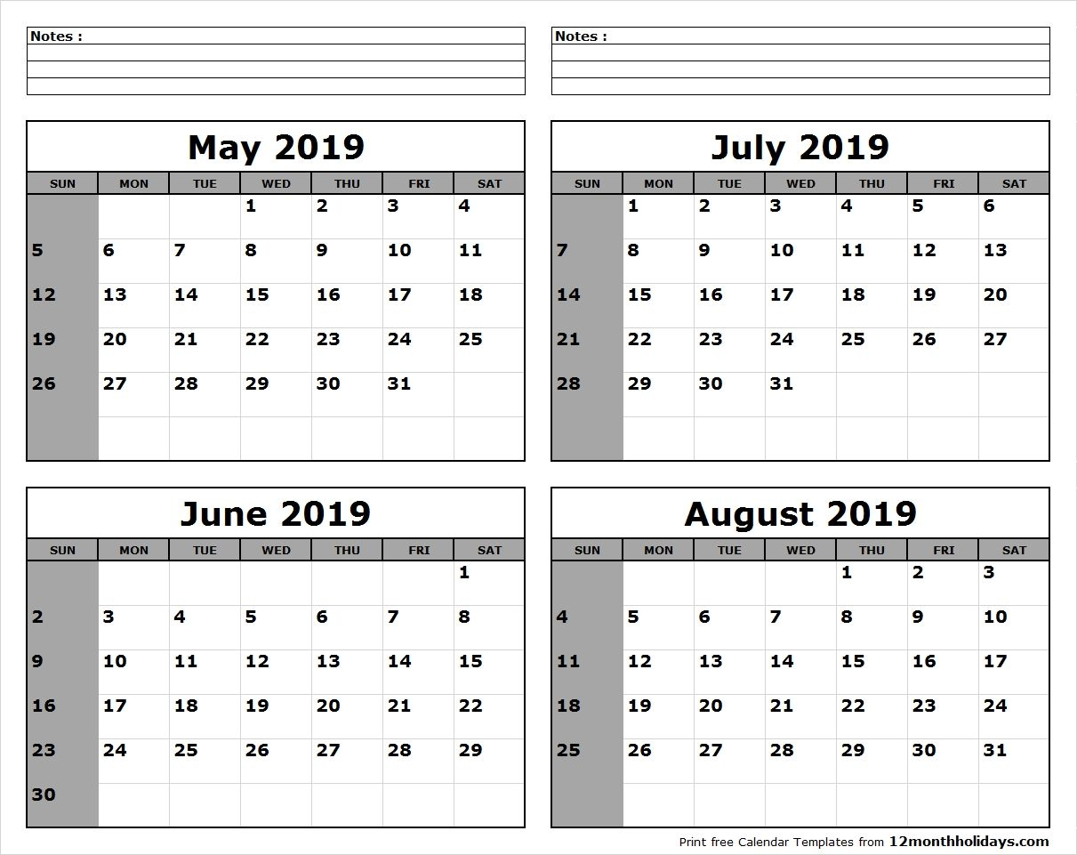 May-June-July-August-2019-Calendar-To-Print - All 12 Month