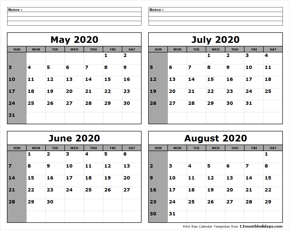 May-June-July-August-2020-Calendar-To-Print - All 12 Month