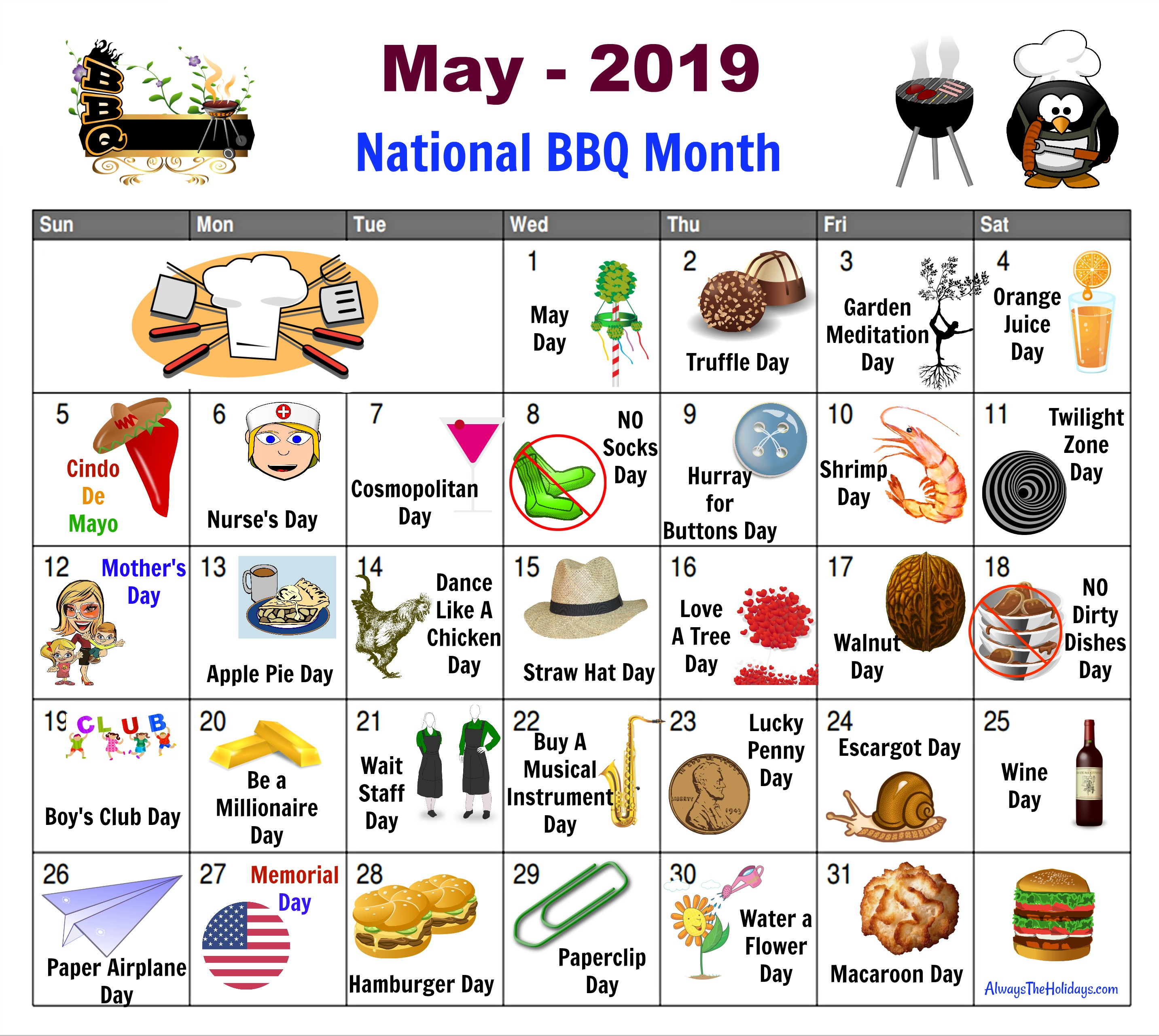 May National Day Calendar - Free Printable - Always The Holidays