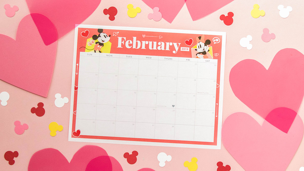 Mickey And Minnie February 2019 Printable Calendar   Disney