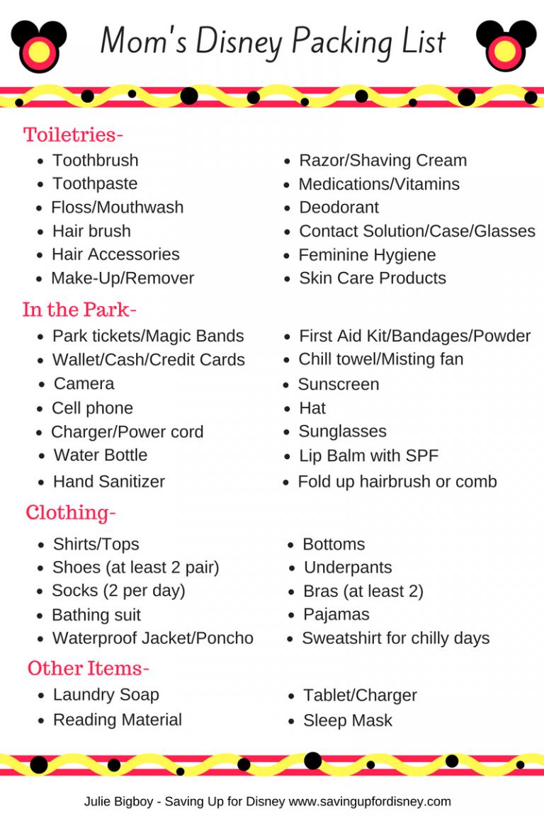 Mom's Disney Packing List - Free Printable! | Disney