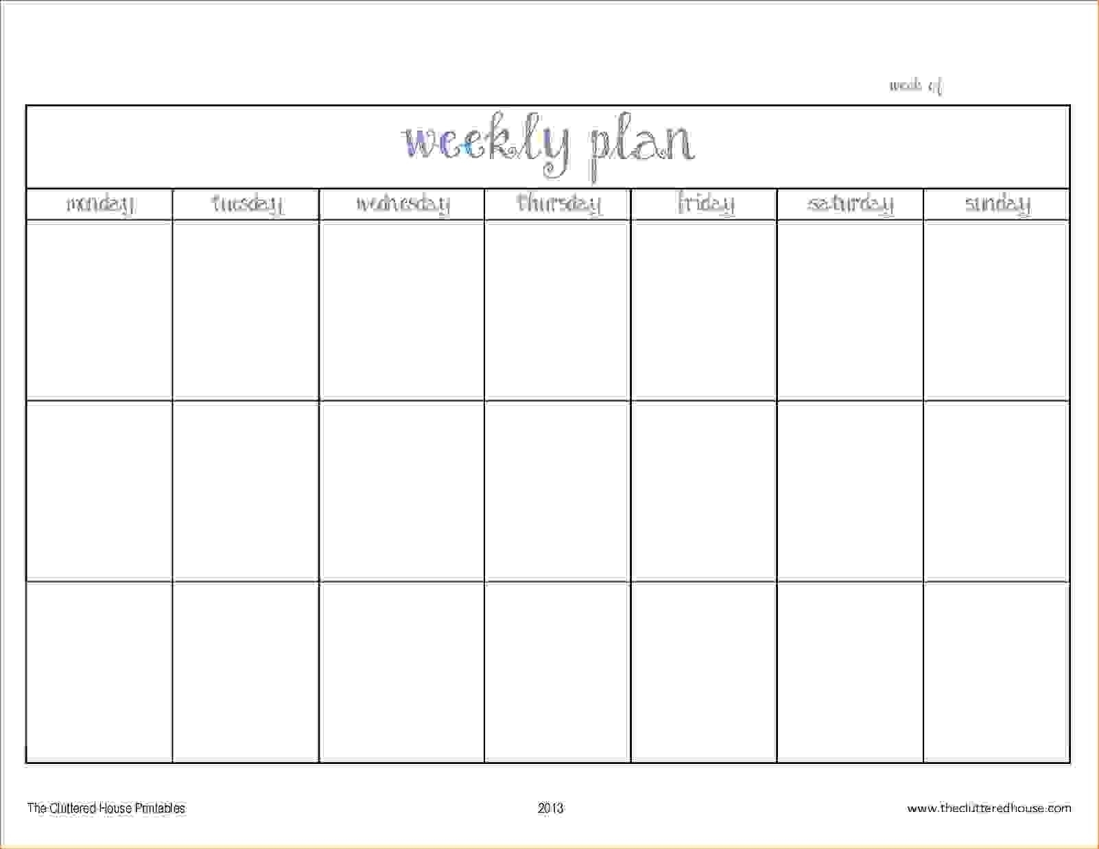 Monday – Friday Planner Template | Calendar Printing Example