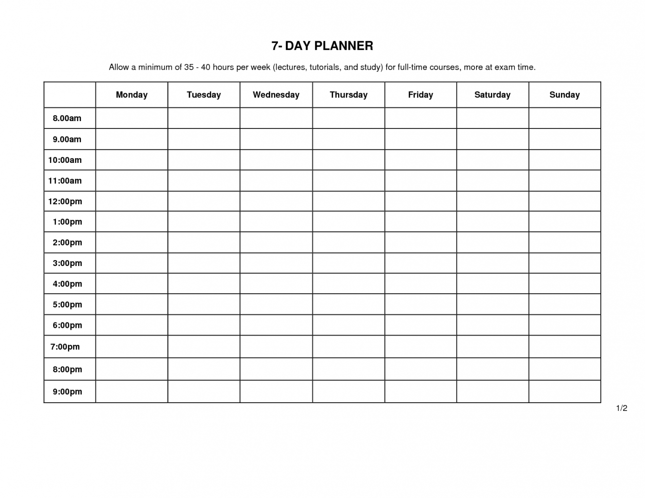 Monday Friday Schedule Template Through Calendar To Business