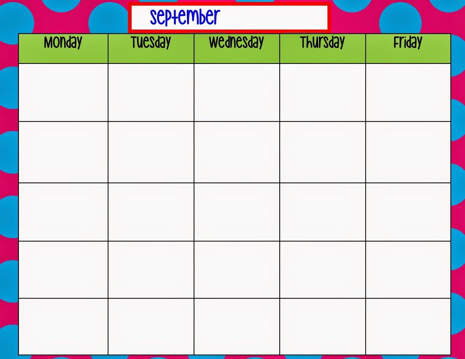 Monday Through Friday Calendar Template   Preschool   Weekly