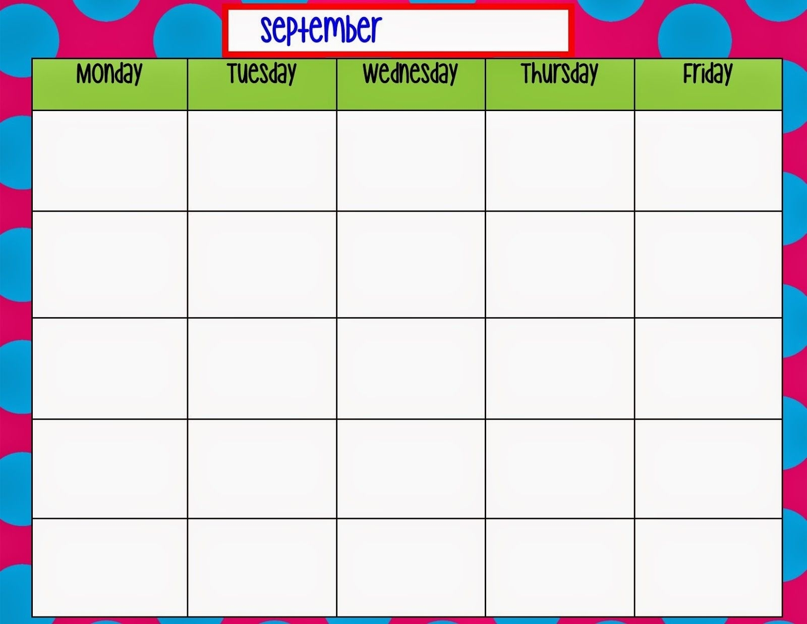 Monday Through Friday Monthly Calendar | Calendar Printing