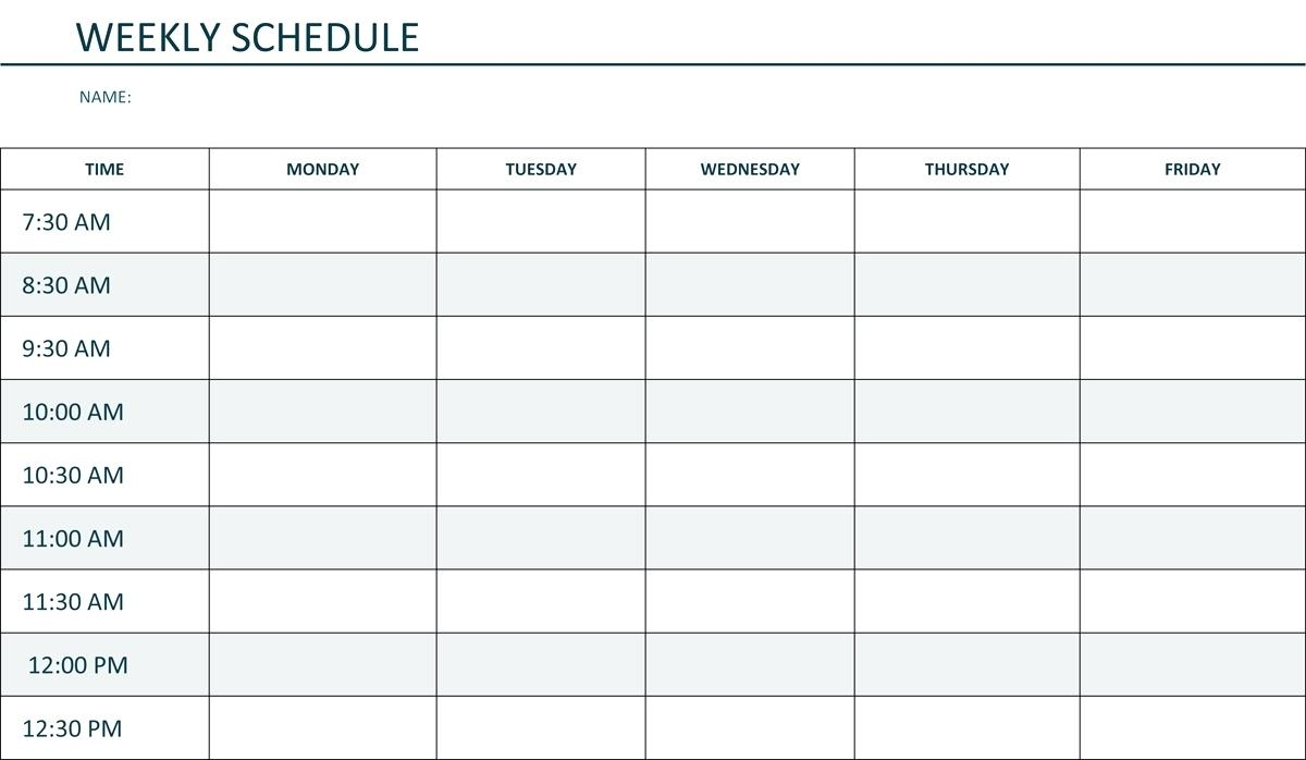 Monday Through Friday Schedule Template Hourly Weekly Time