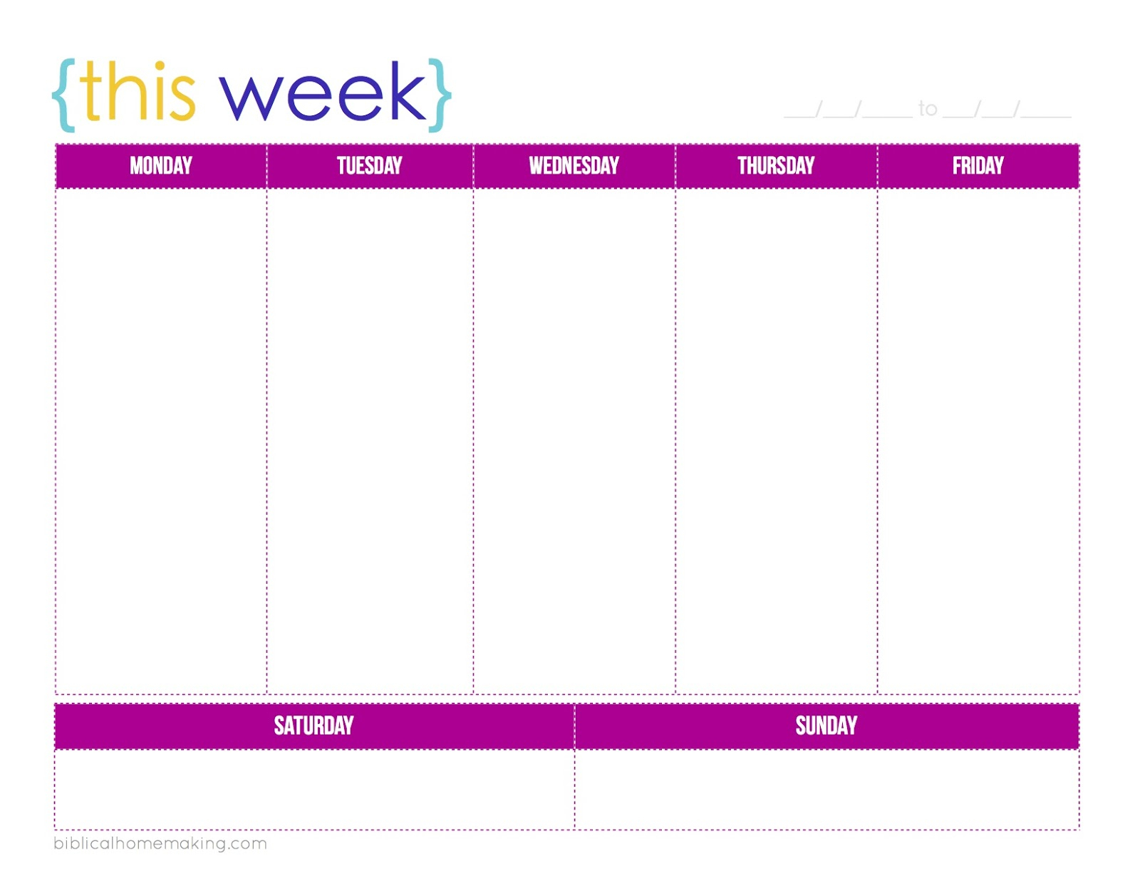 Monday Through Friday Weekly R Template Schedule Word