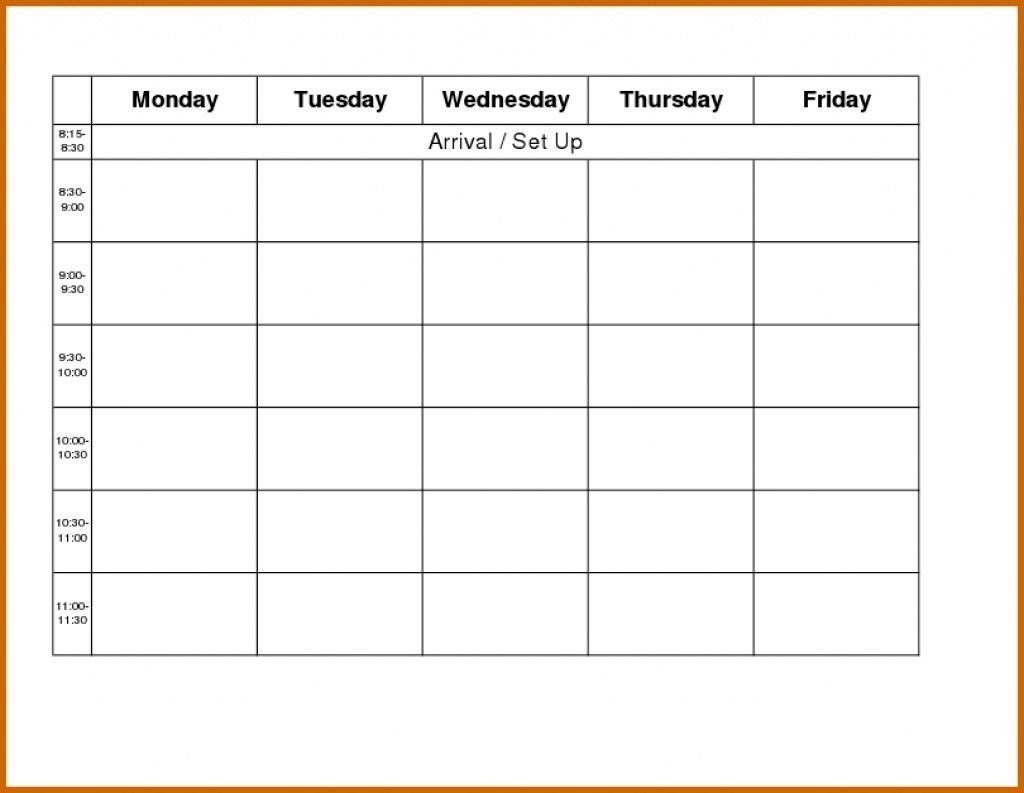 Monday Through Y Calendar Template Preschool Blank Weekly To
