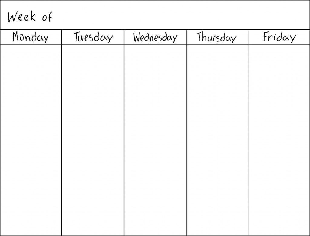 Monday Thru Friday Calendar | Calendar Template 2019