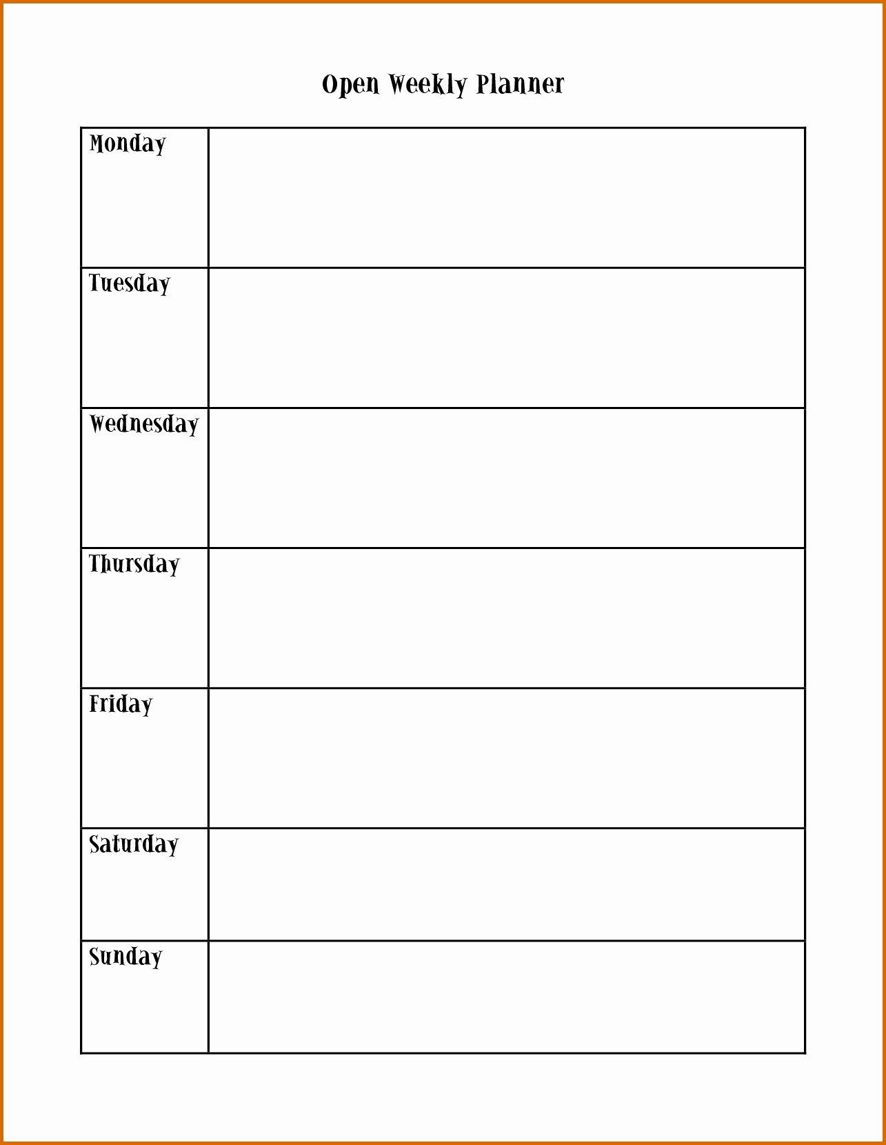 Monday To Friday Schedule Template | Wesleykimlerstudio