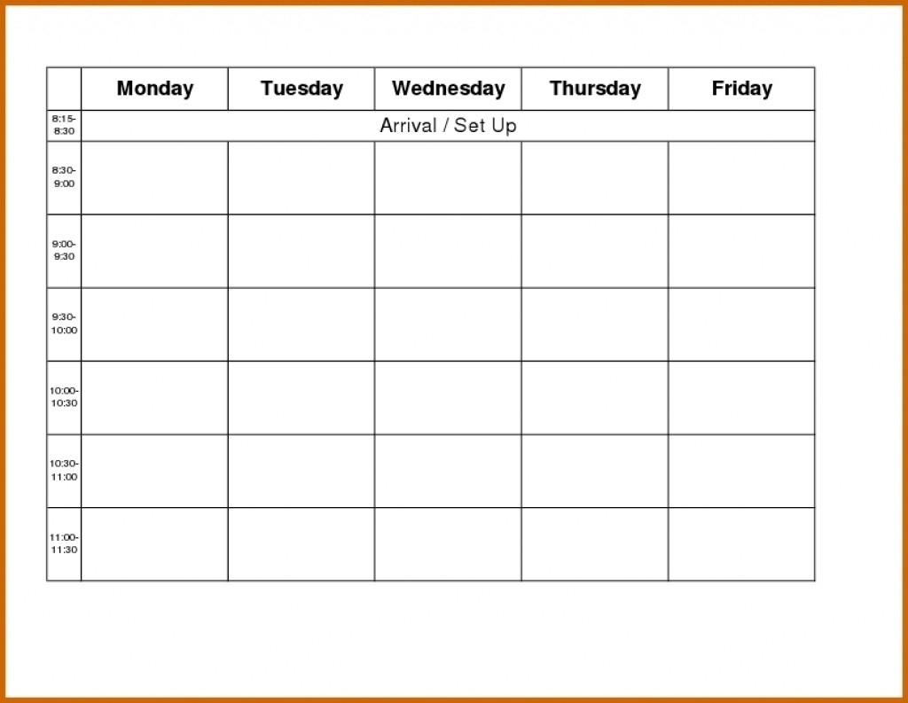 Monday To Friday School Schedule Template Through Class | Smorad