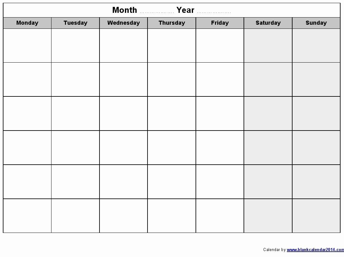 Monday To Sunday Calendar Template Beautiful Monday Thru