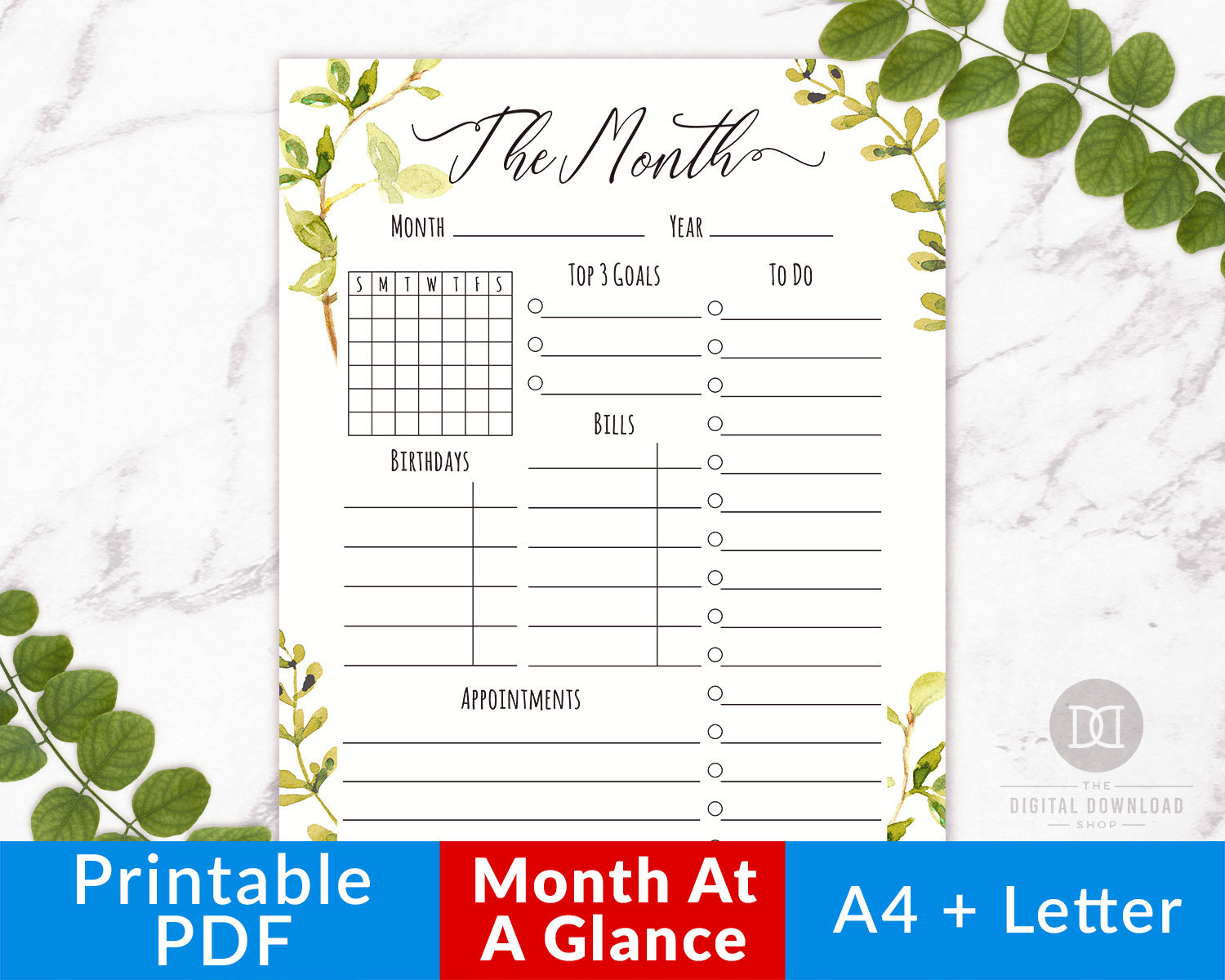 Month At A Glance Printable- Watercolor Greenery, Monthly Planner  Printable, Monthly Organizer, Monthly Calendar, Monthly To Do List Pdf