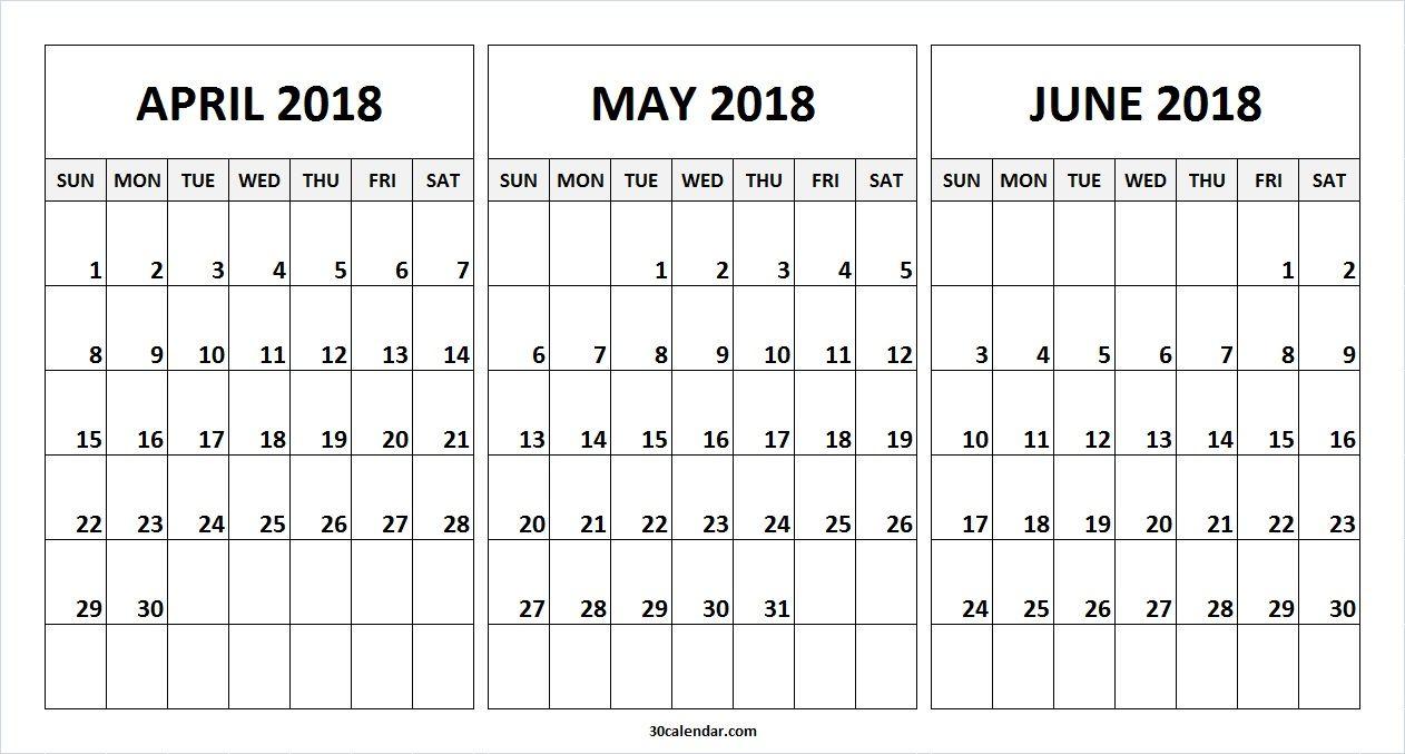 Month Of April May June 2018 Calendar | 2018 Calendar | June