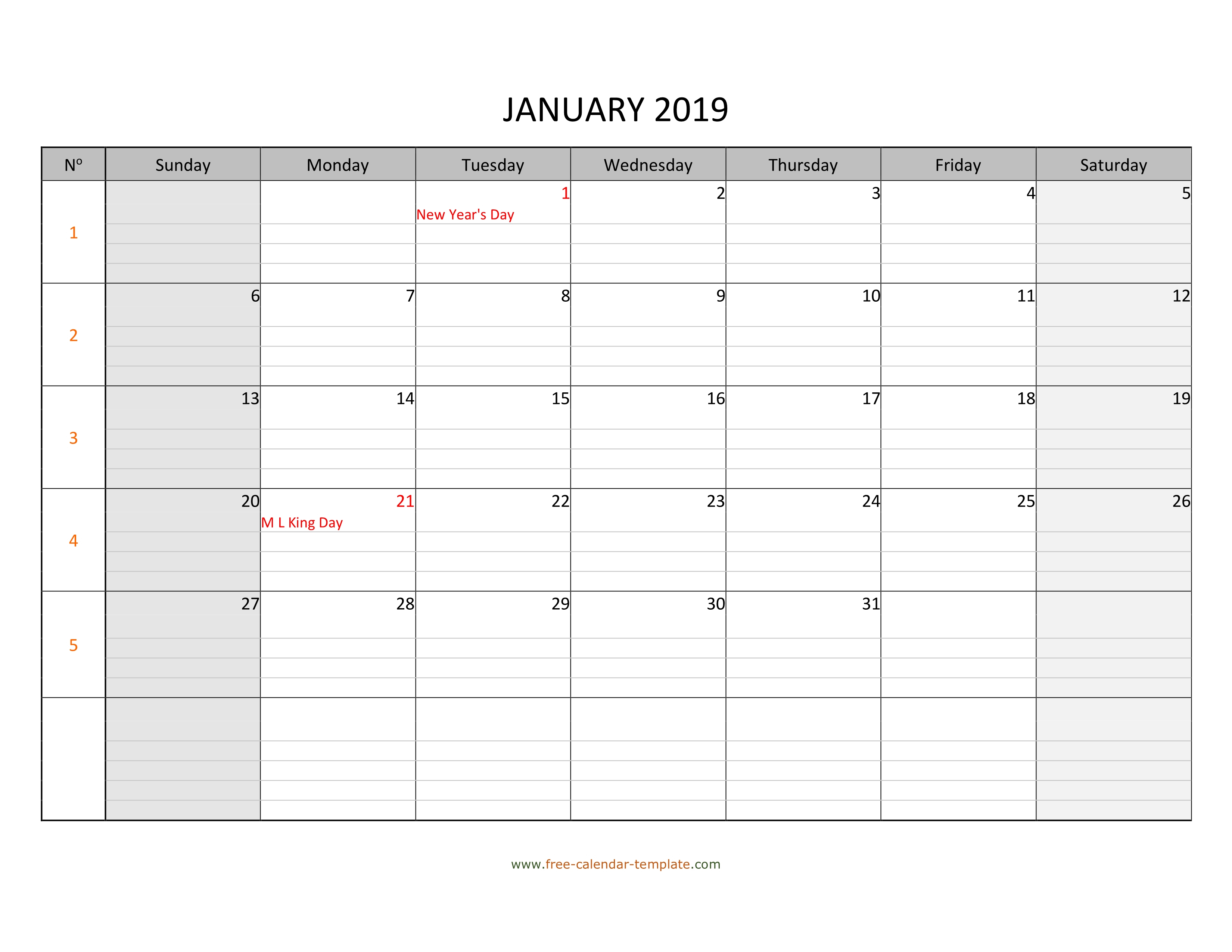 Monthly 2019 Calendar Free Printable With Grid Lines