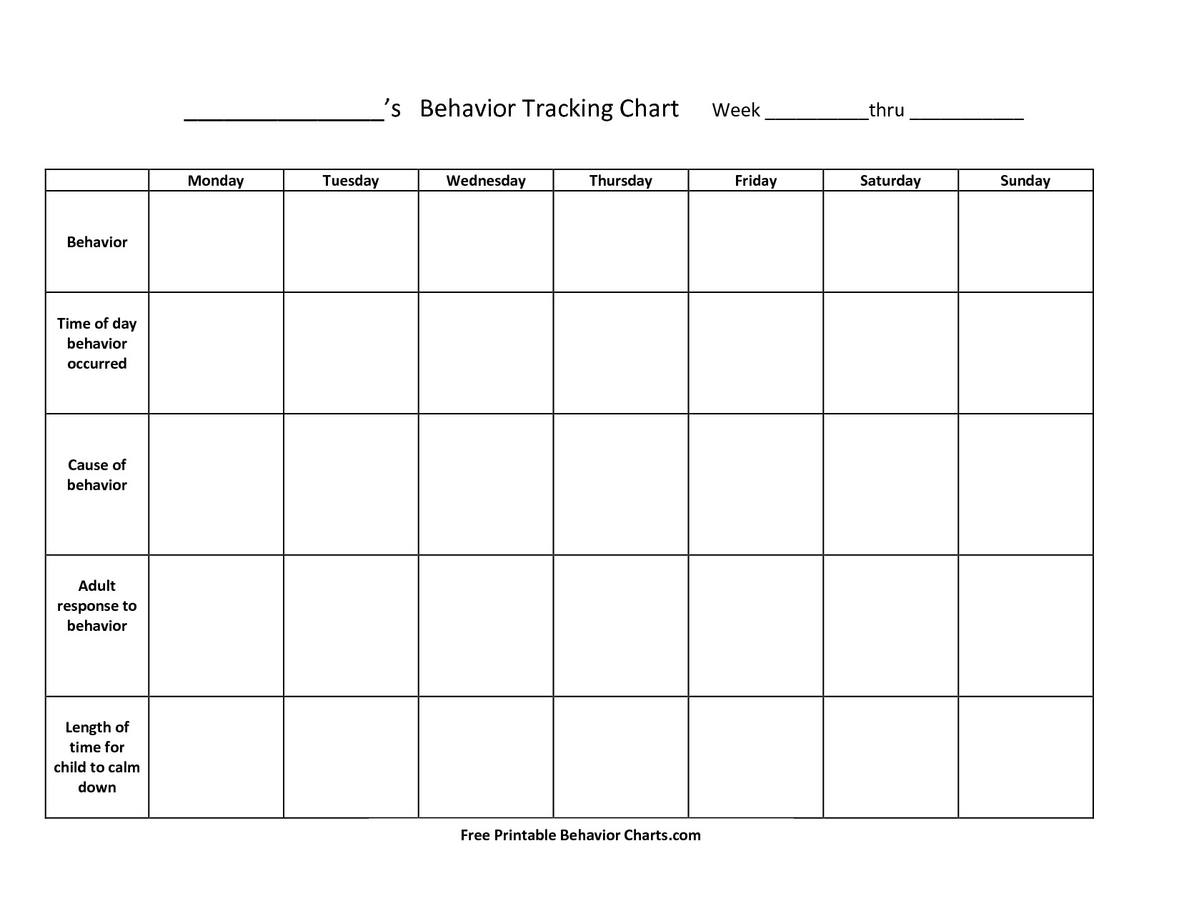Monthly Behavior Calendar Template With Pictures Monthly