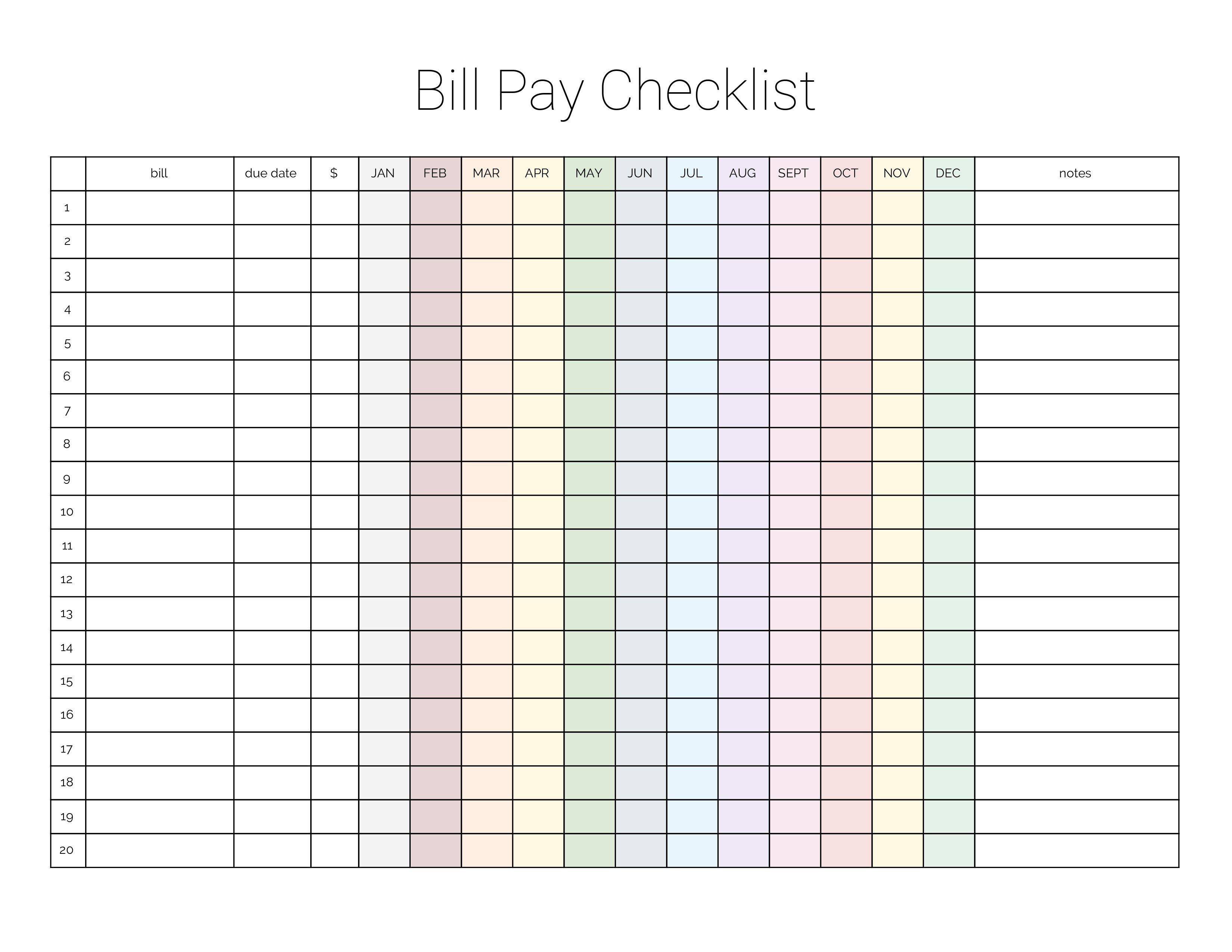 Monthly Bill Payment Checklist {Printable} | Bloggers Portal