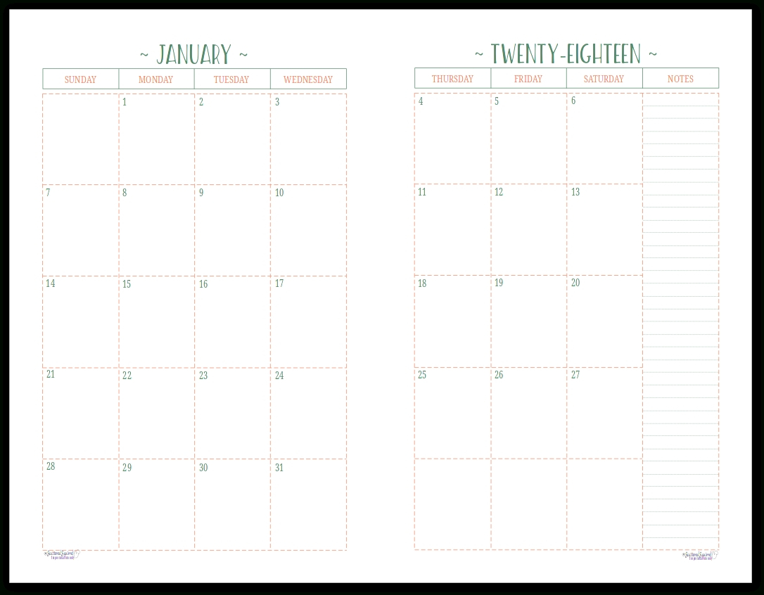 Monthly Calendar 2 Page To Print   Calendar Printing Example