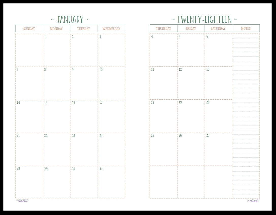 Monthly Calendar 2 Page To Print | Calendar Printing Example