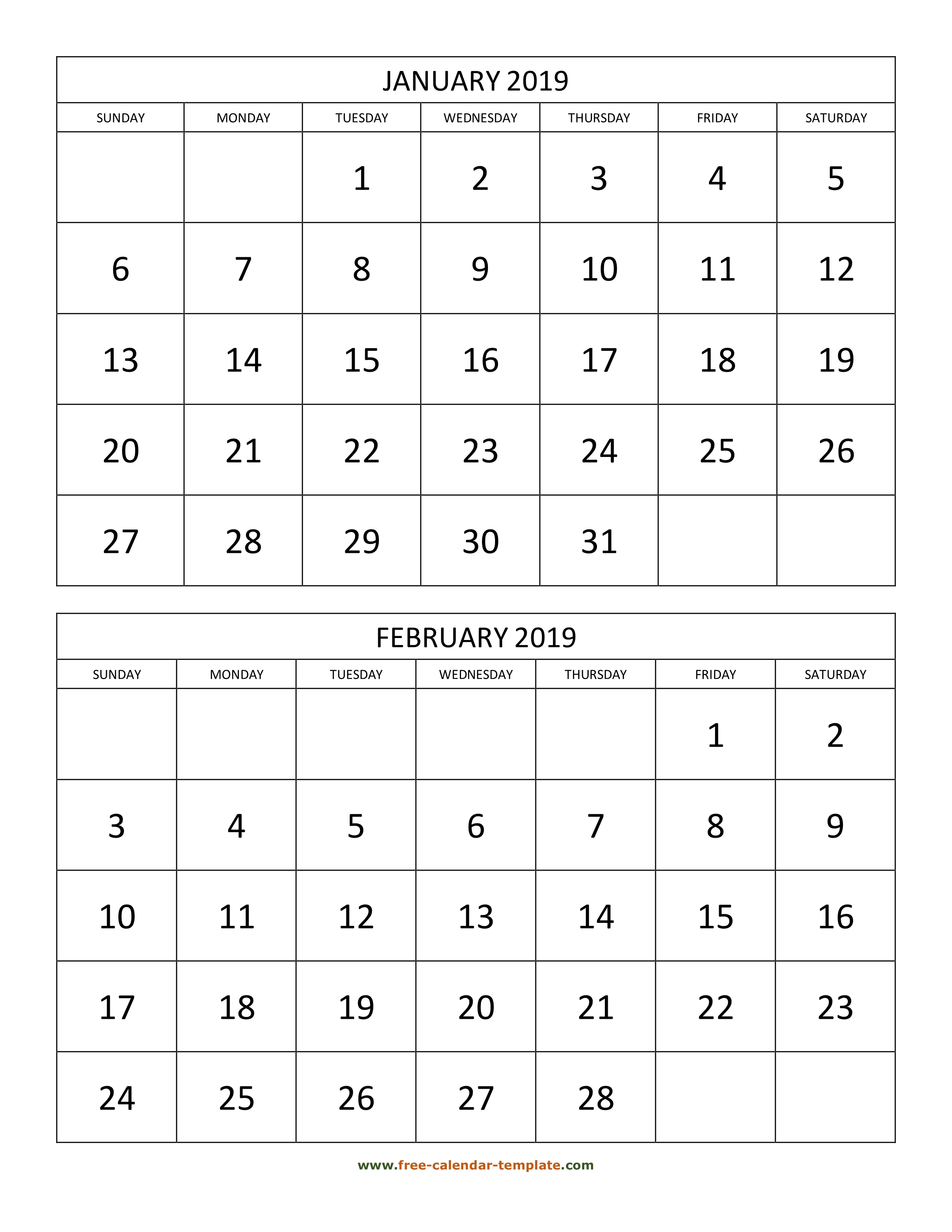 Monthly Calendar 2019, 2 Months Per Page (Vertical) | Free