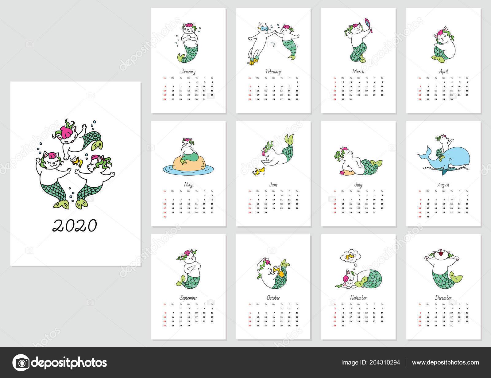 Monthly Calendar 2020 Template Cute Cat Mermaids Vector