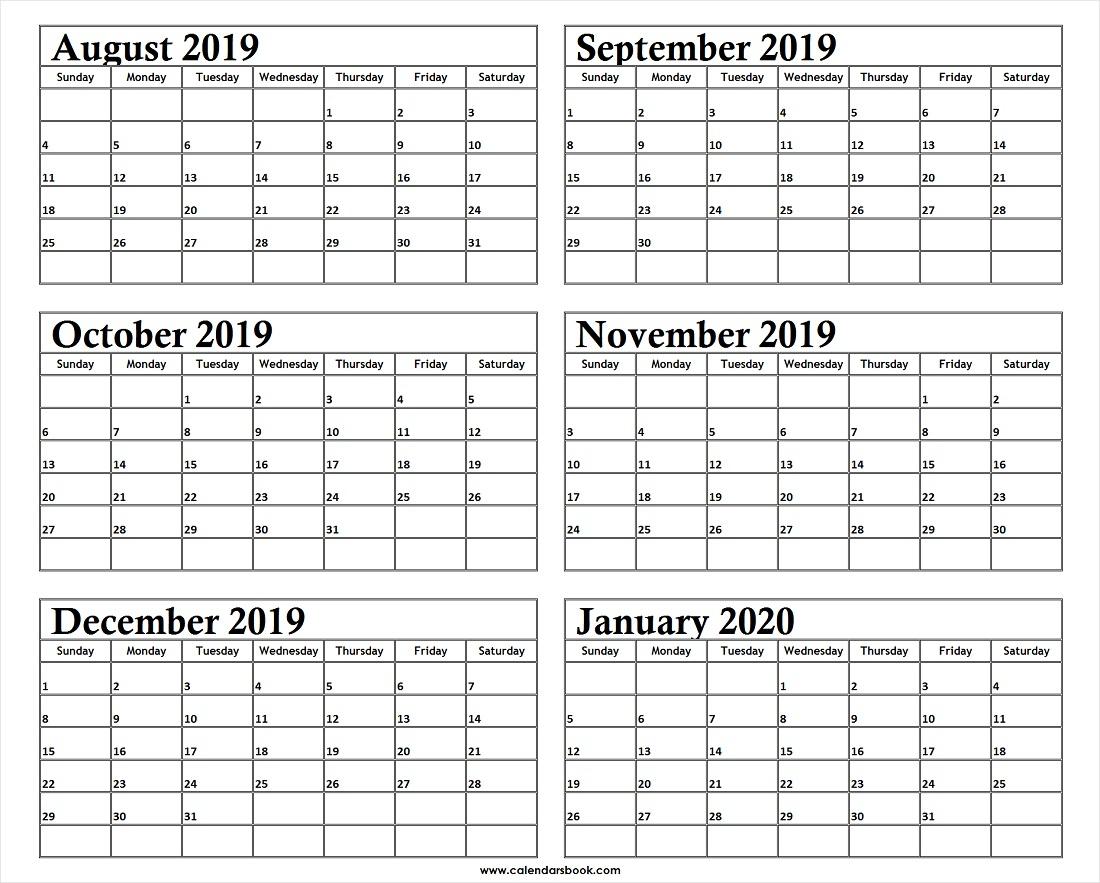 Monthly Calendar Aug Sep Oct Nov Dec 2019 Jan 2020 Printable