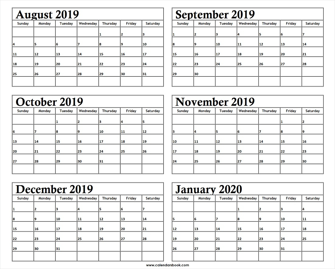 Monthly Calendar Aug Sep Oct Nov Dec 2019 Jan 2020 Printable
