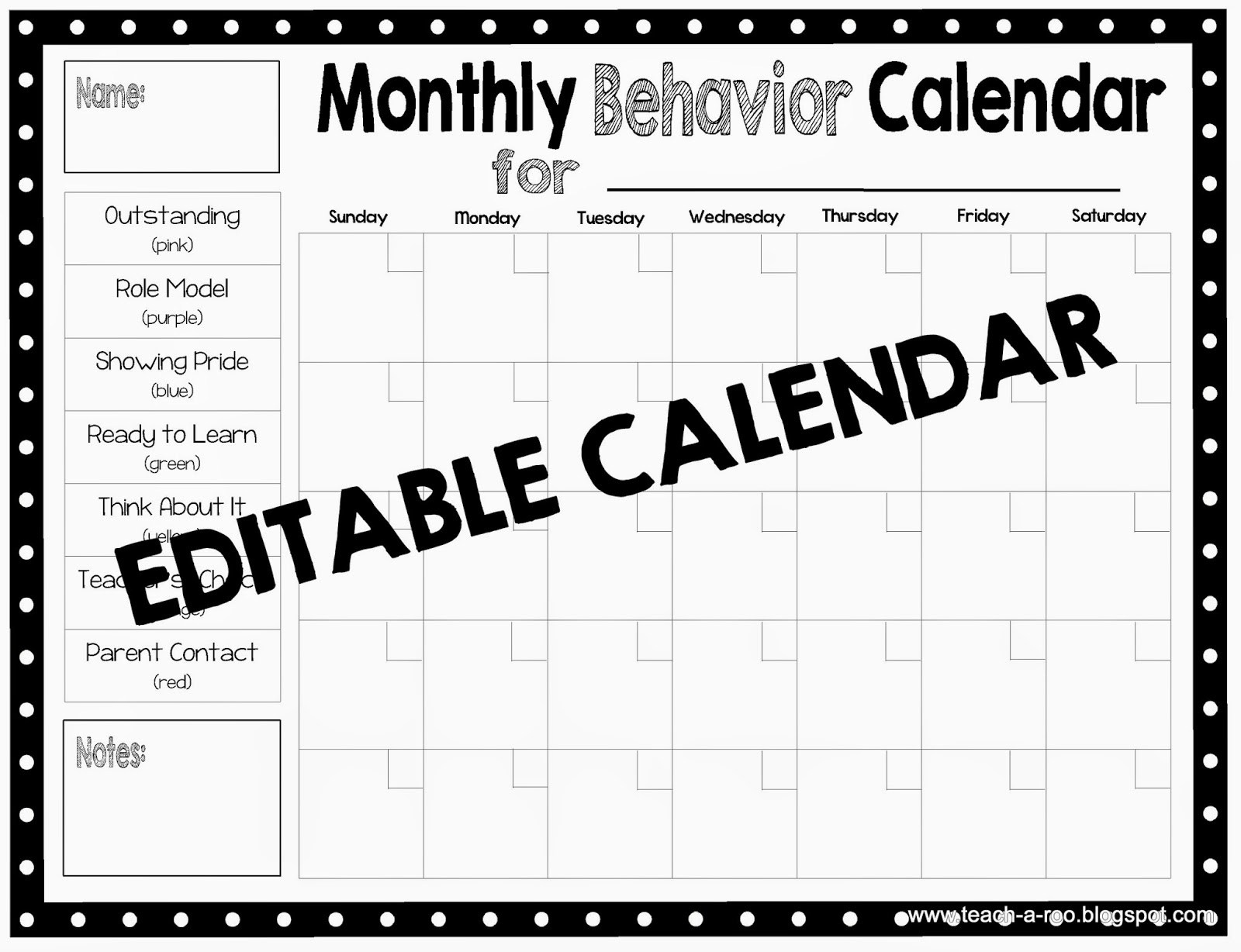 Monthly Calendar Behavior Chart • Printable Blank Calendar