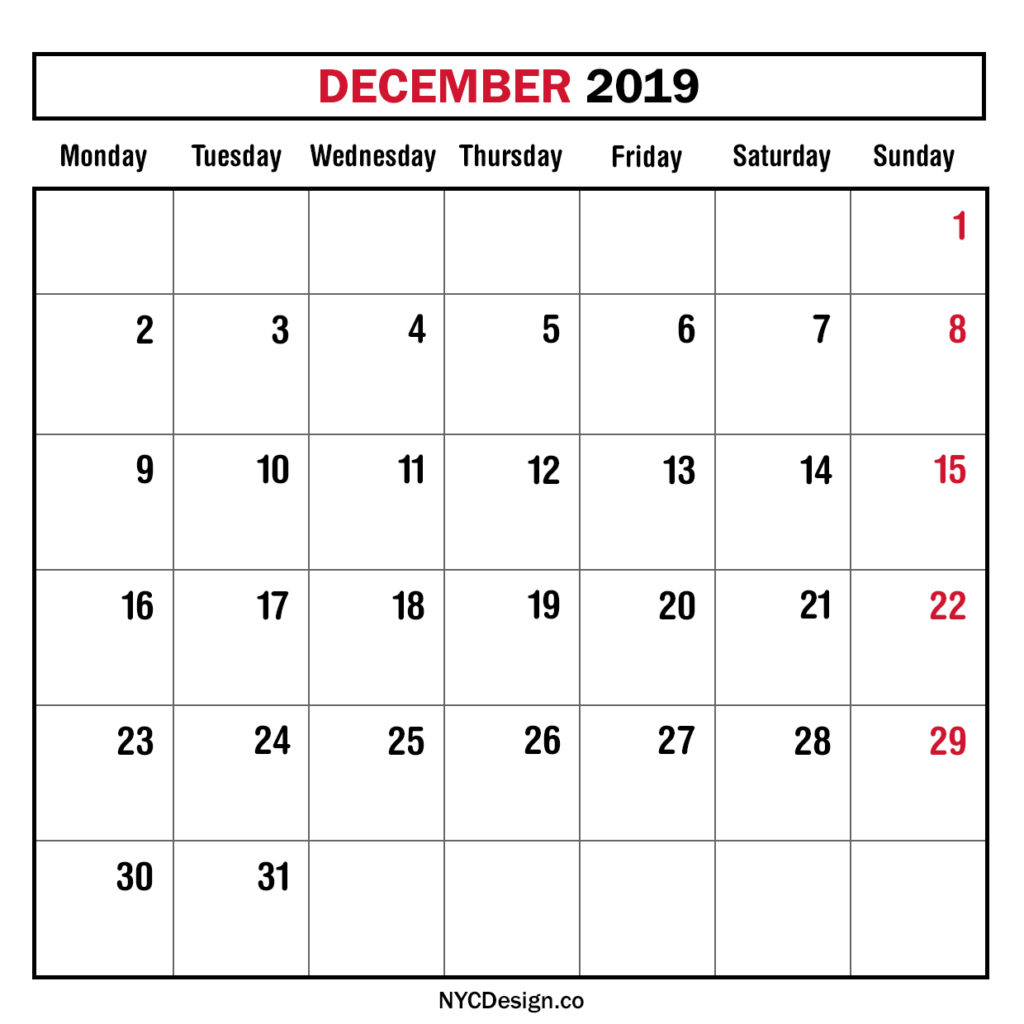 Monthly Calendar December 2019, Monthly Planner, Printable