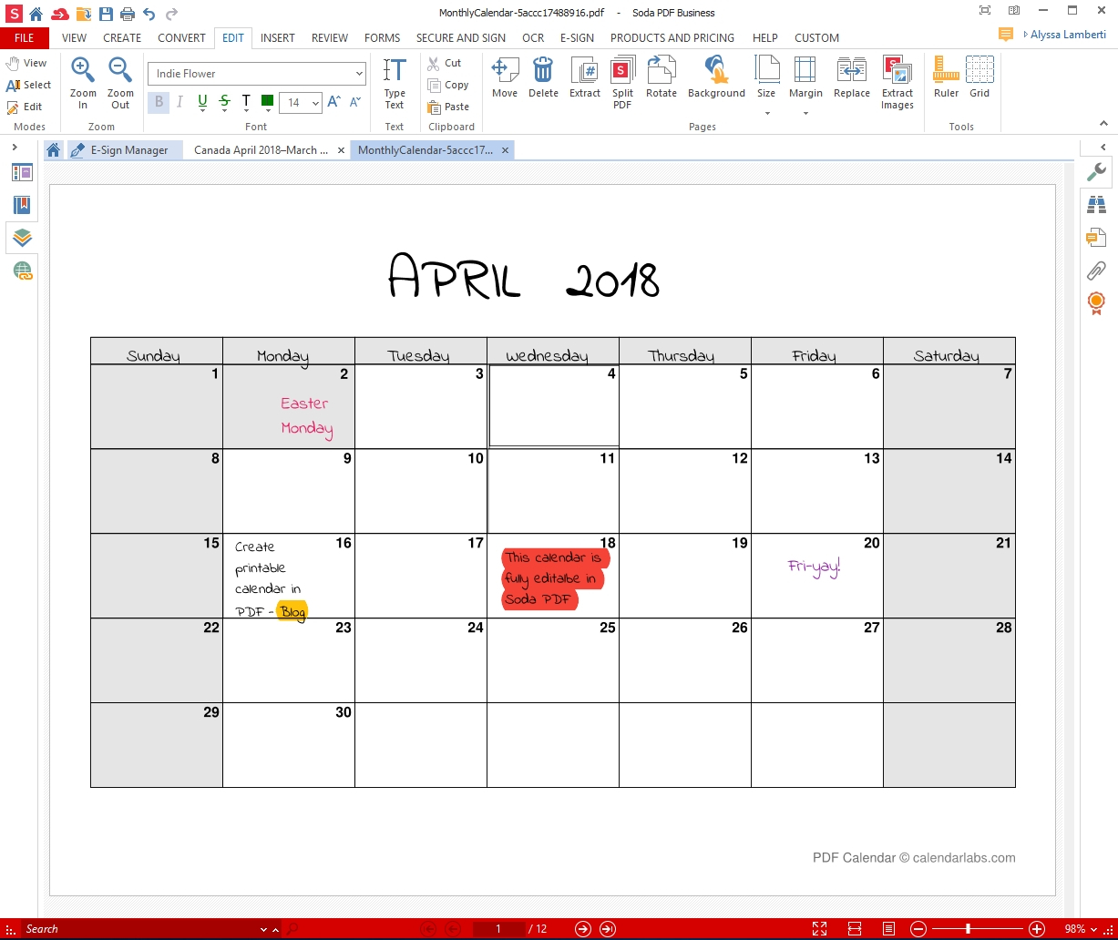 Monthly Calendar I Can Edit • Printable Blank Calendar Template
