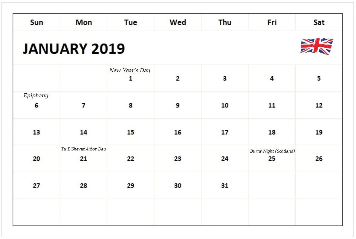Monthly Calendar January 2019 Uk Holidays #januarycalendar